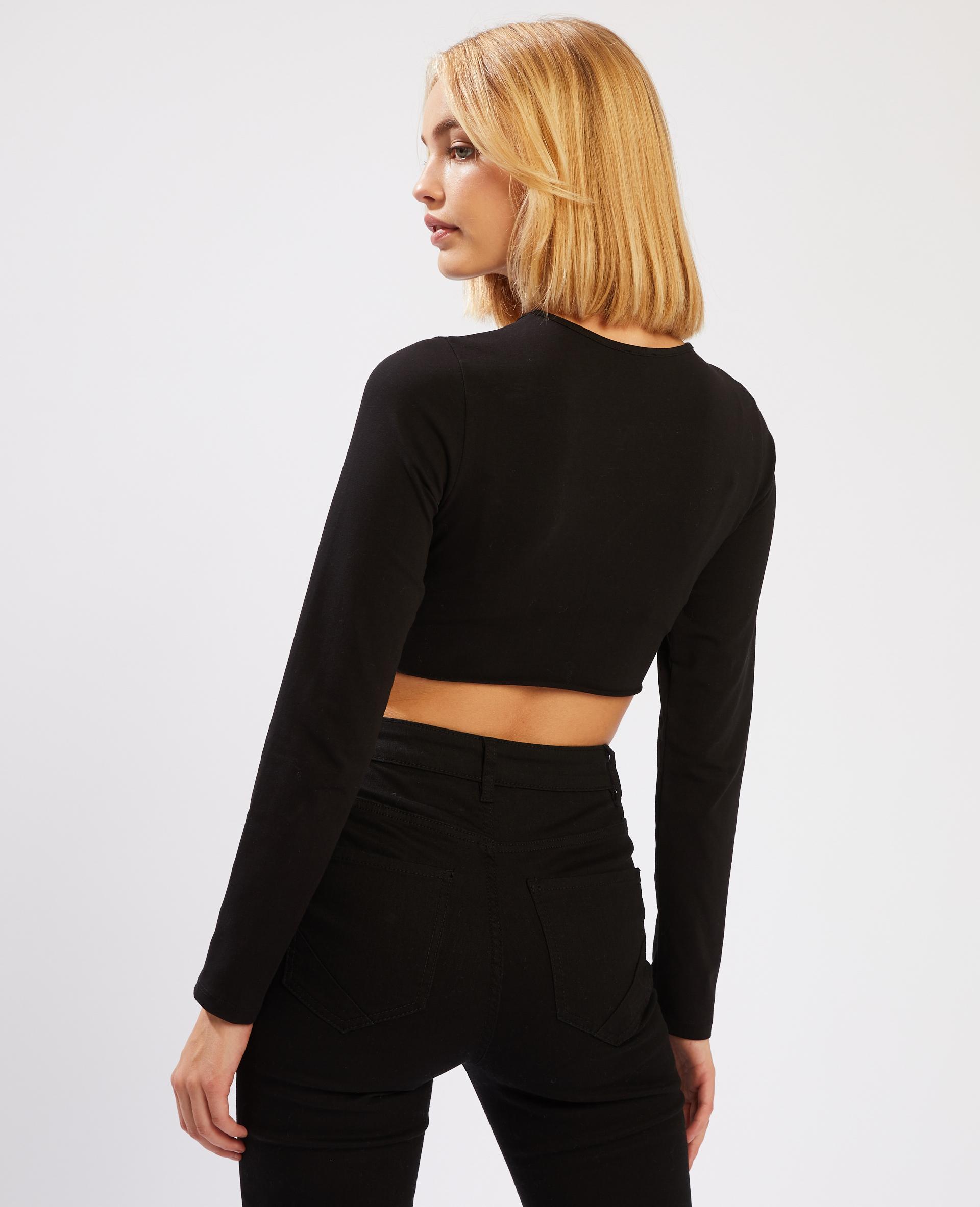 T-shirt cropped manches longues noir - Pimkie