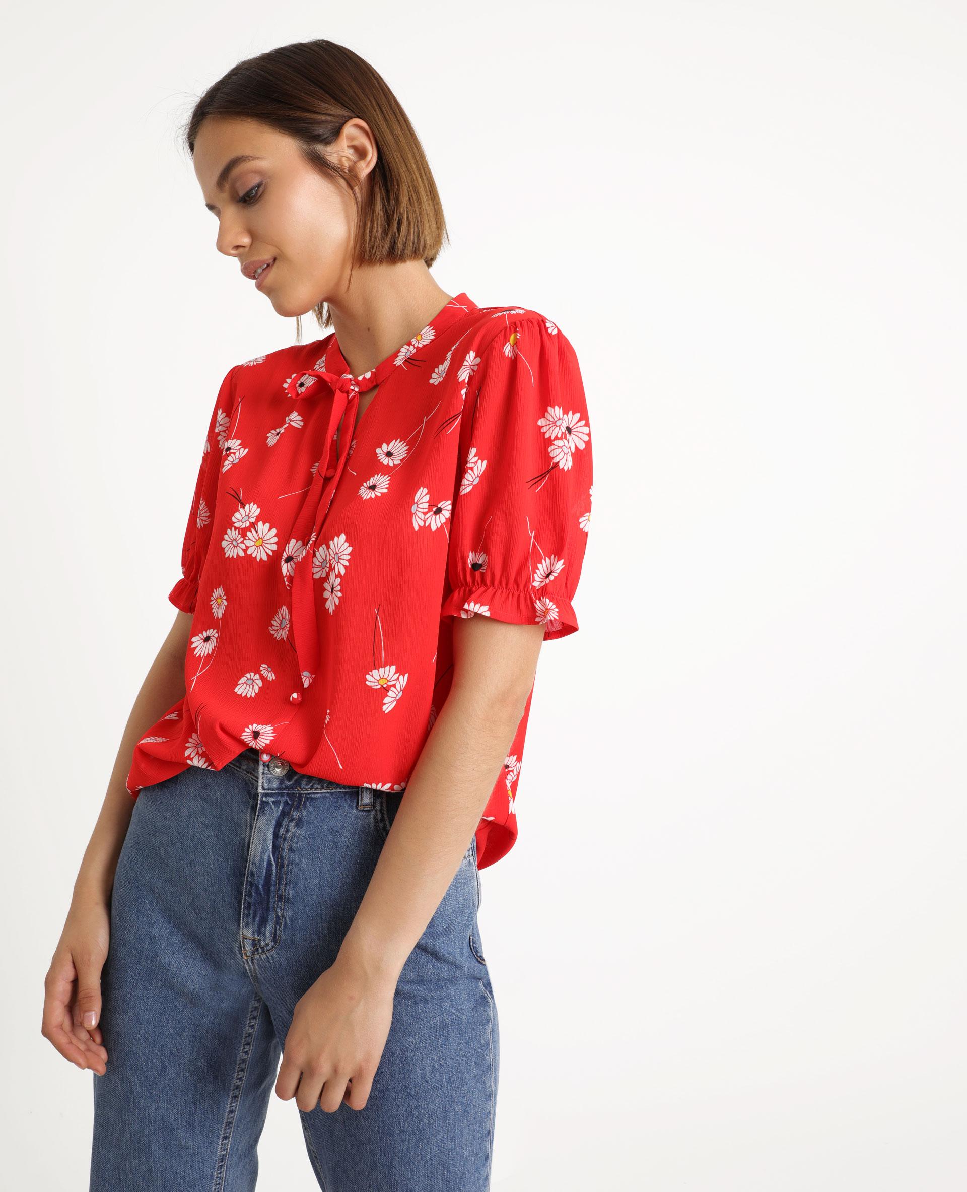 Chemisier fleuri rouge - Pimkie