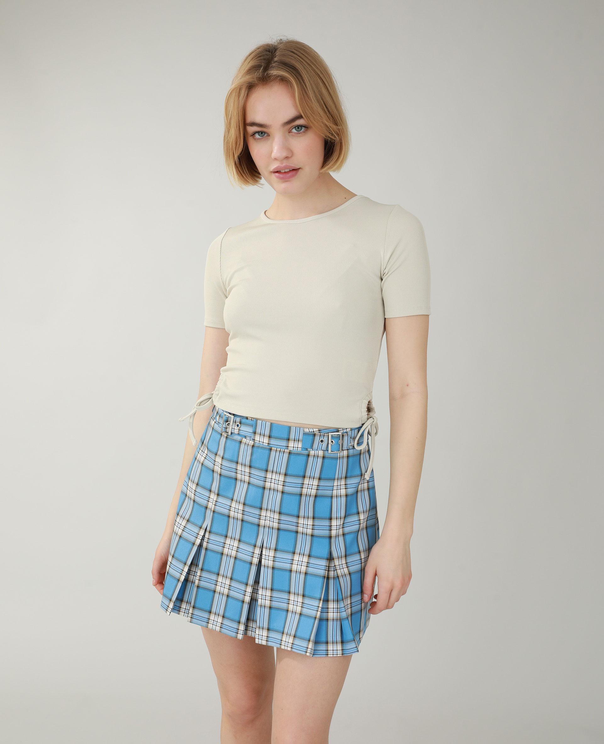 T-shirt côtelé à laçages beige - Pimkie