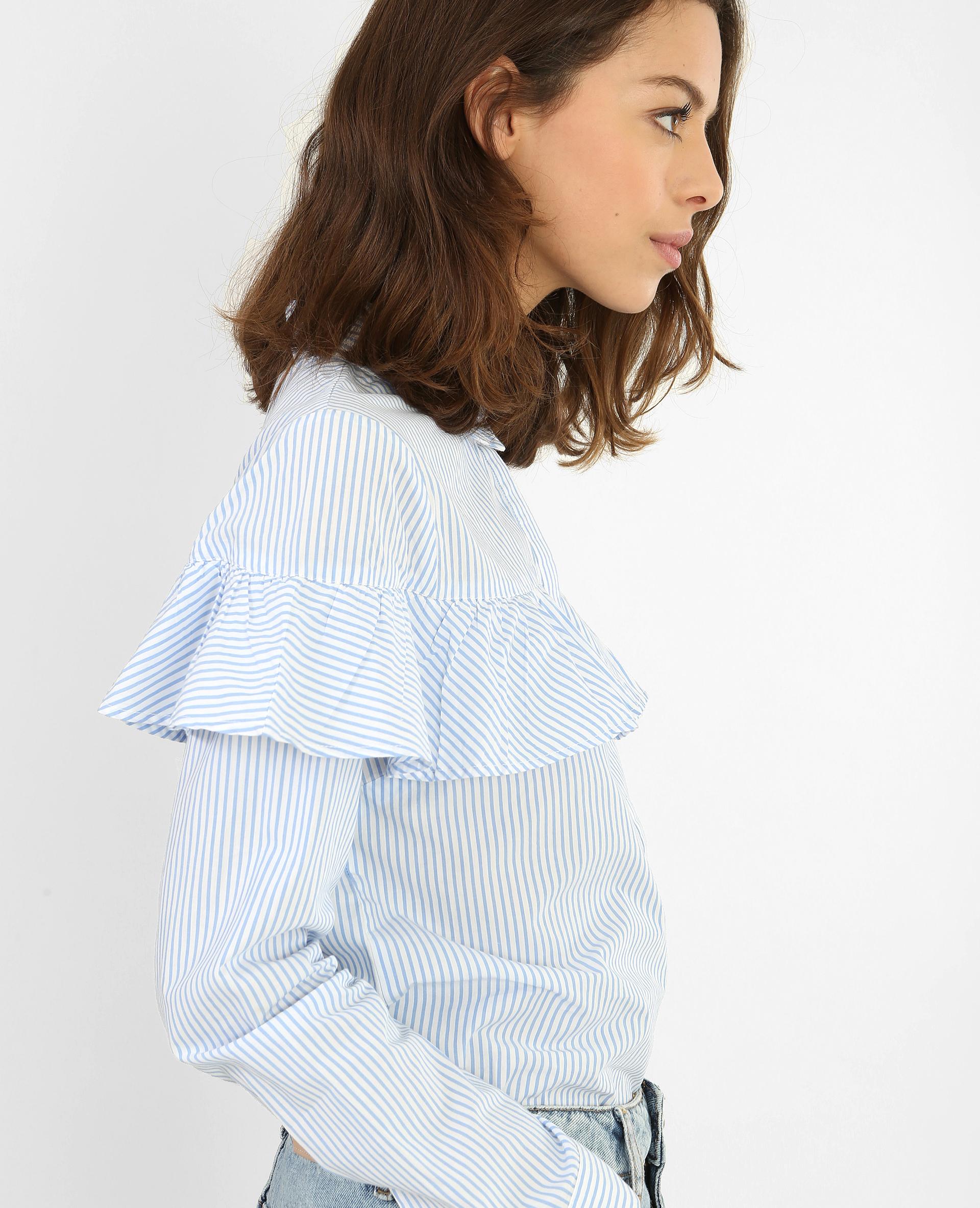 Chemise rayée à volant blanc - Pimkie