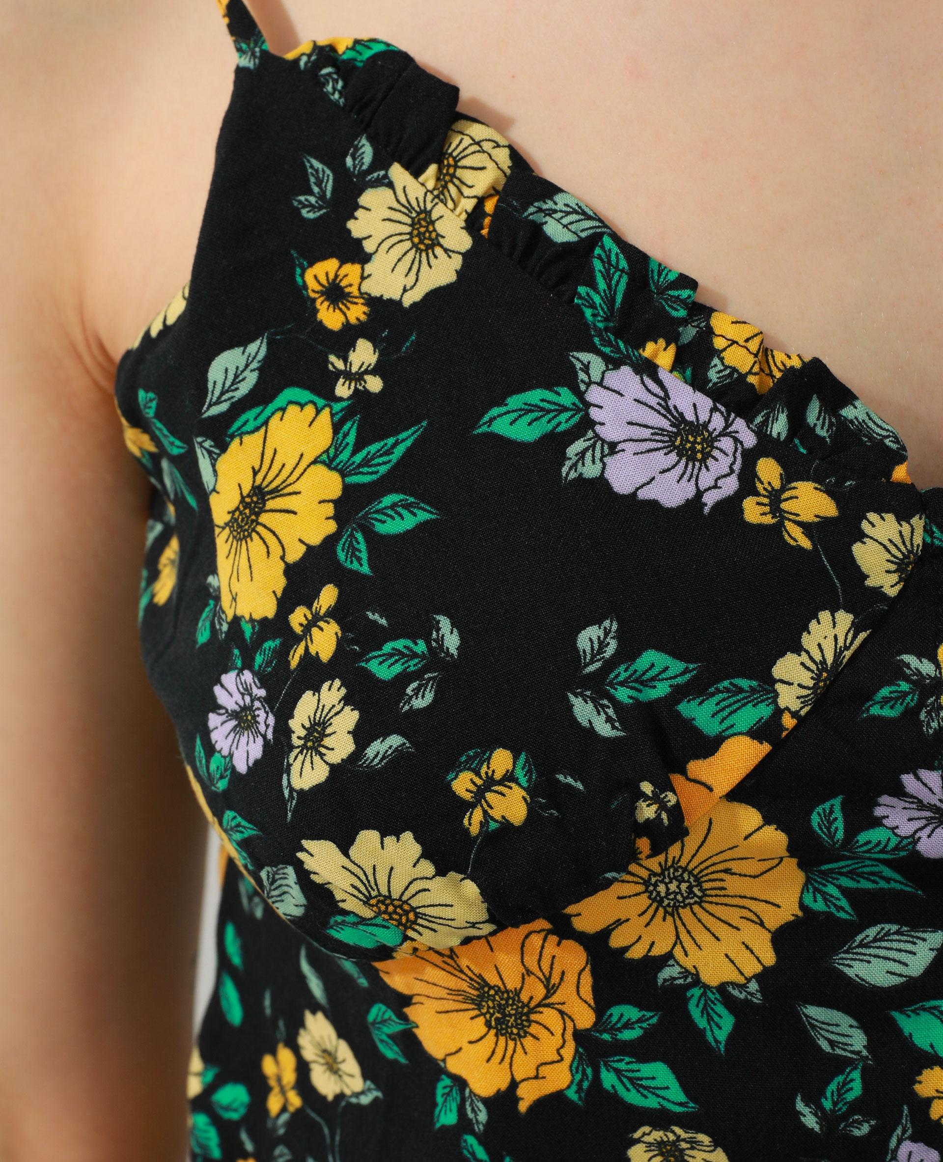Top fleuri noir + jaune - Pimkie