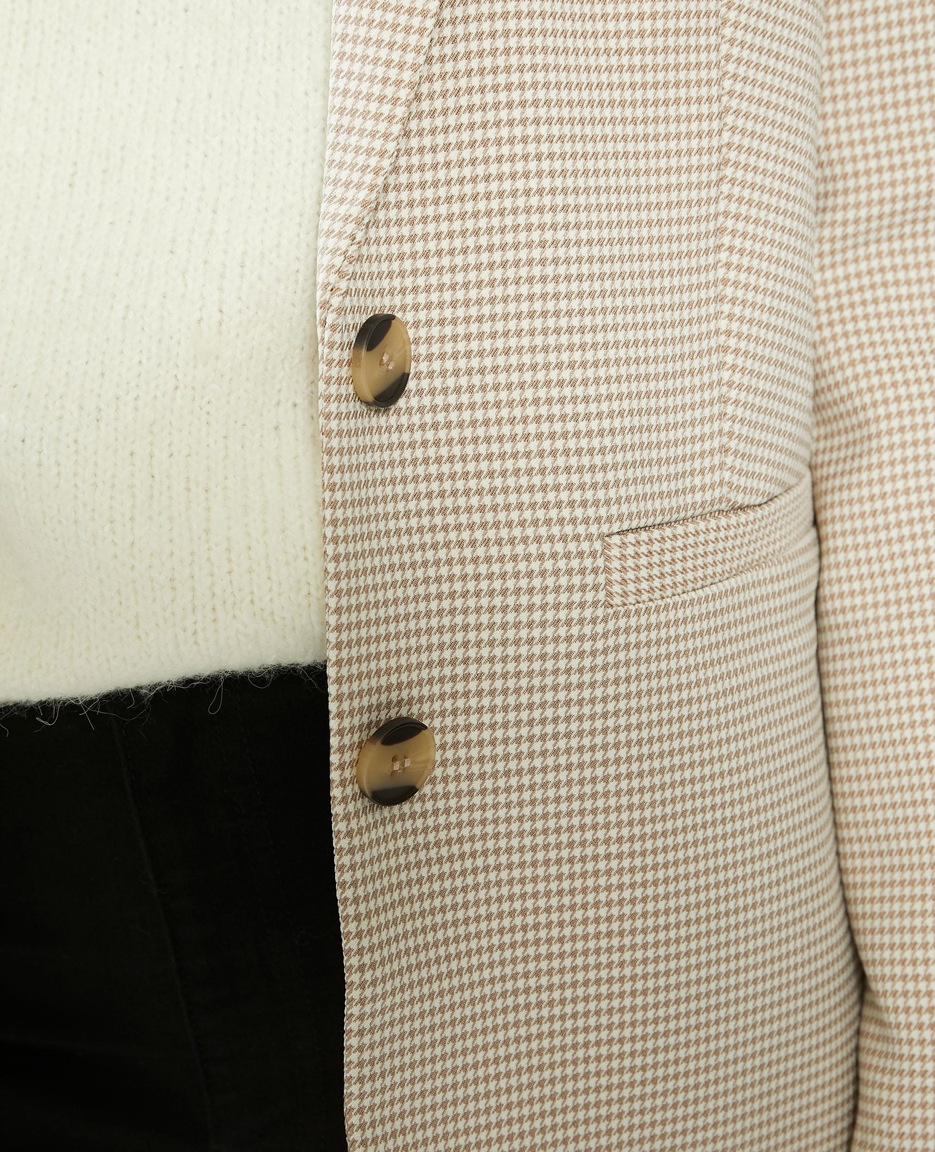Veste city à motifs pied-de-poule beige - Pimkie