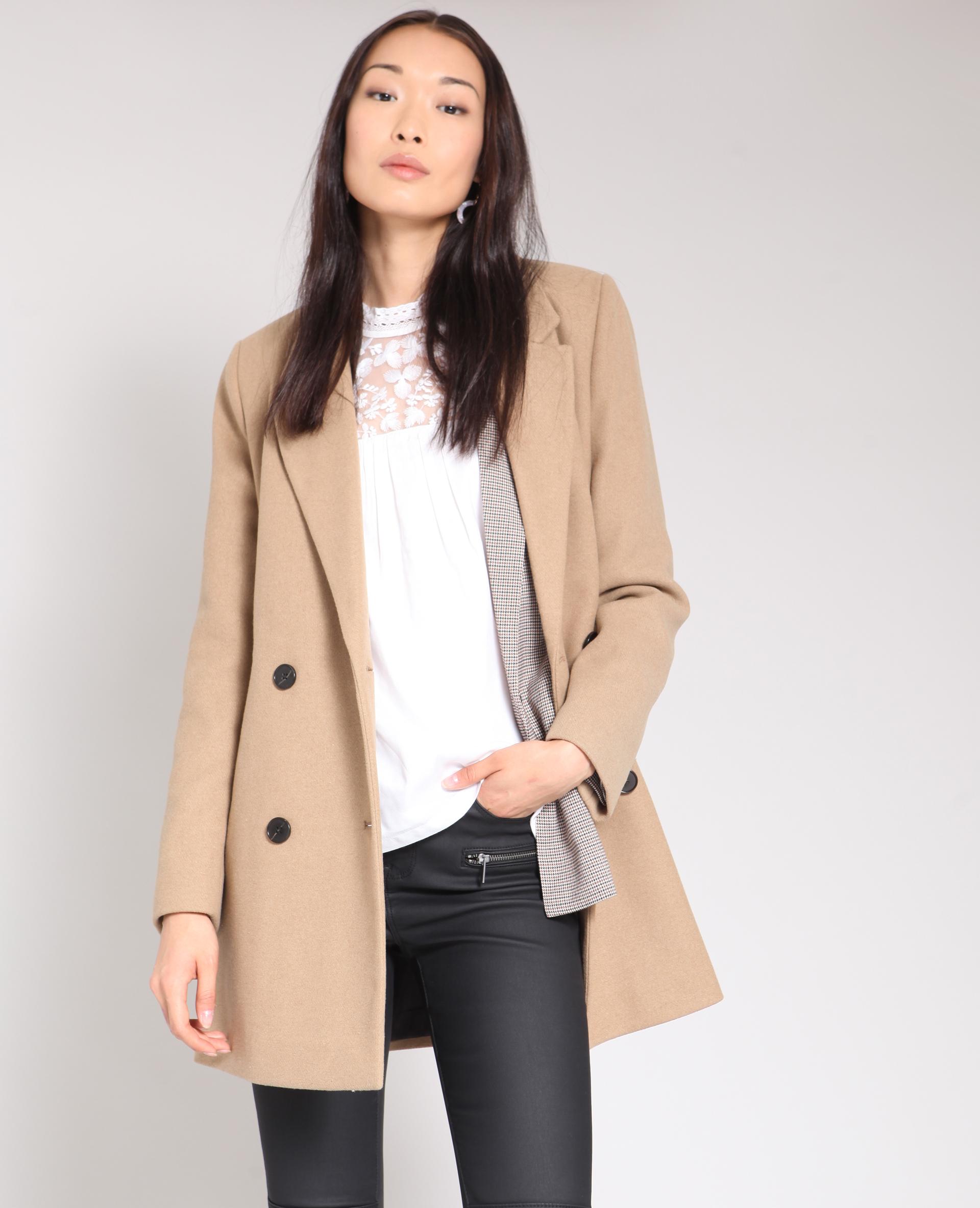 Manteau droit camel - Pimkie