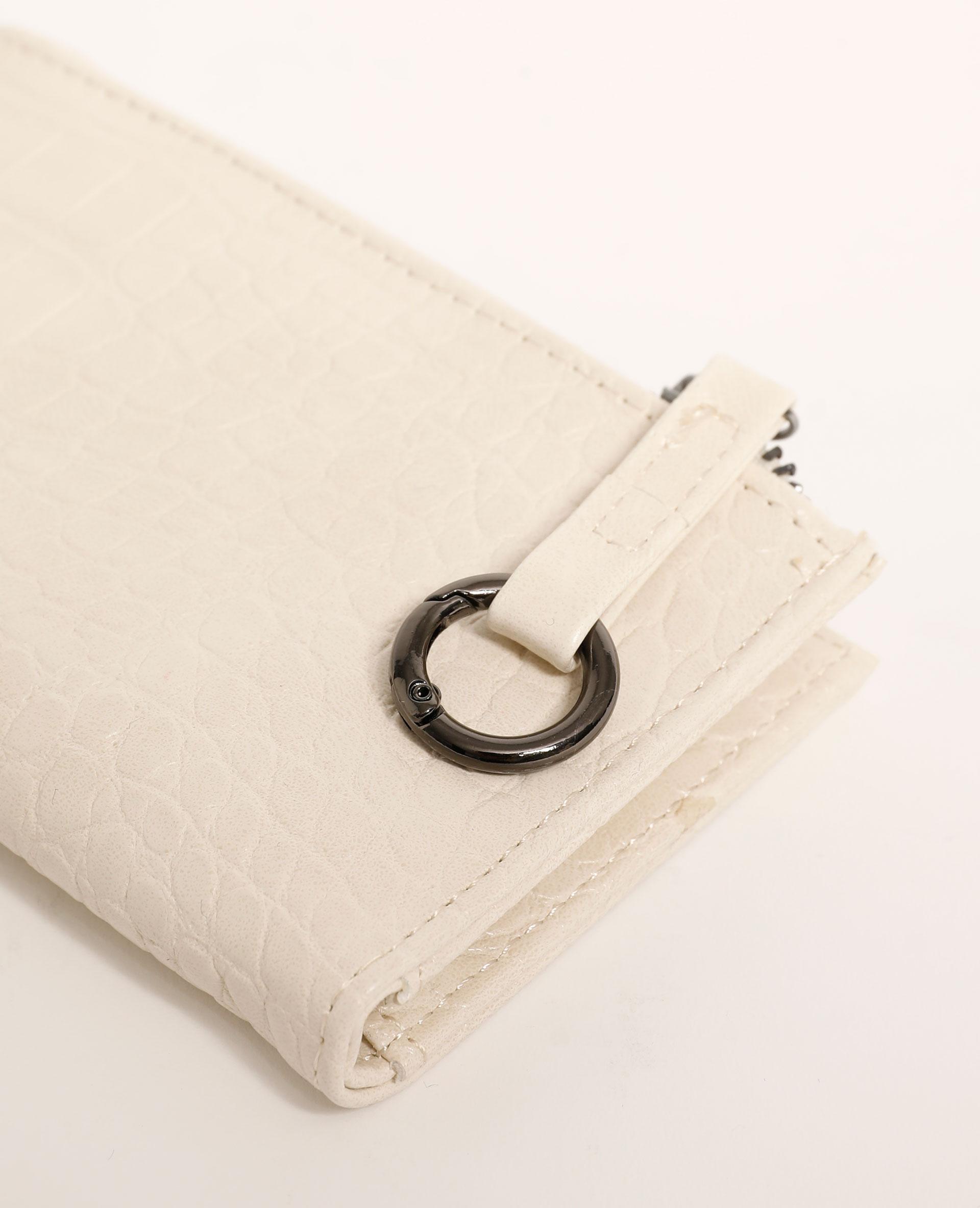 Mini portefeuille effet croco blanc - Pimkie