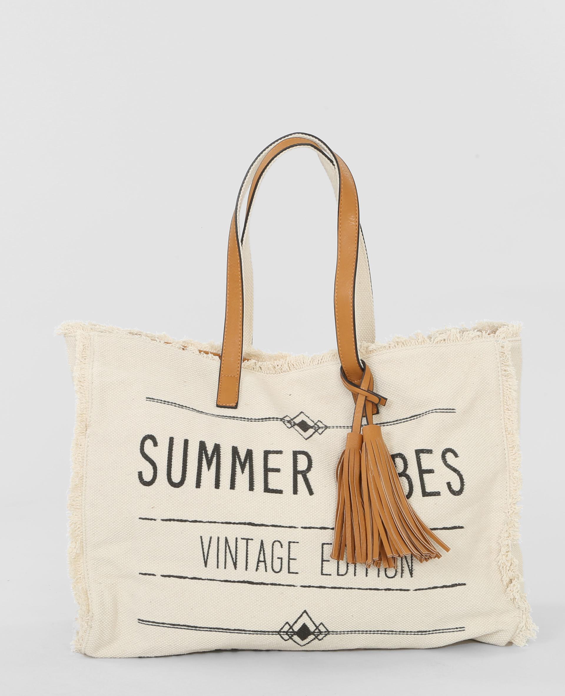 grand sac de plage message beige 983107901a07 pimkie. Black Bedroom Furniture Sets. Home Design Ideas