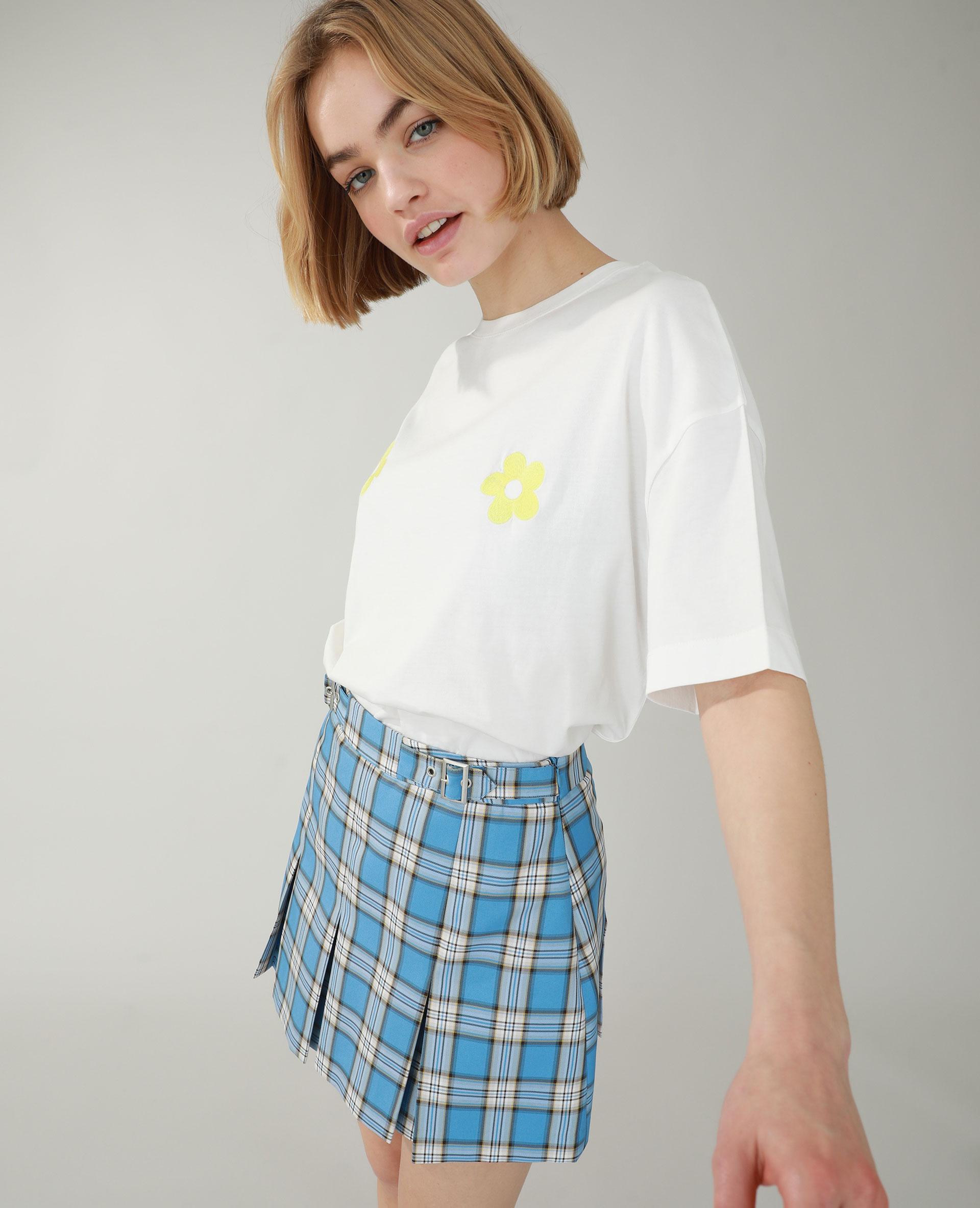 T-shirt ample brodé blanc cassé - Pimkie