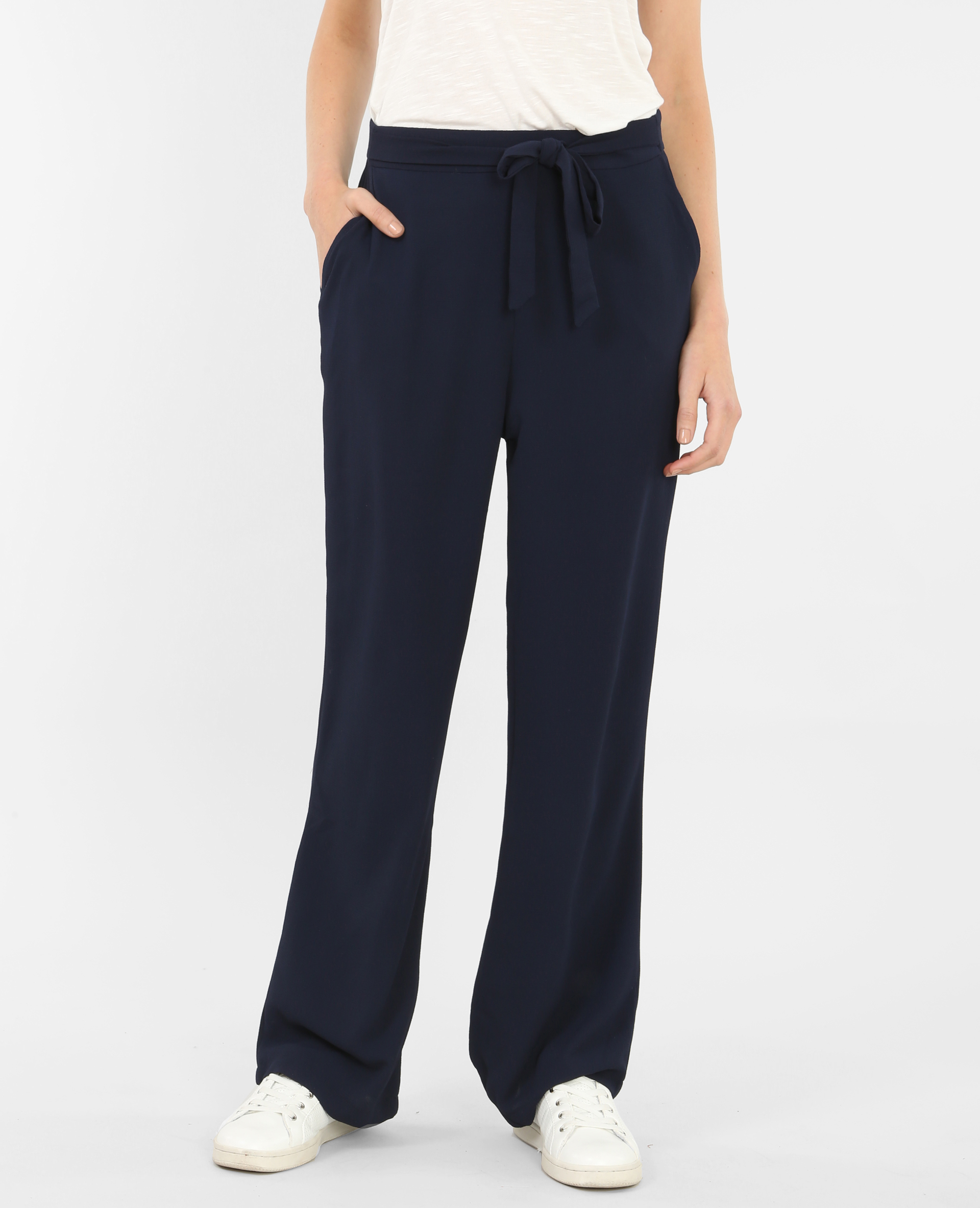 pantalon fluide large bleu marine 145136635a06 pimkie. Black Bedroom Furniture Sets. Home Design Ideas