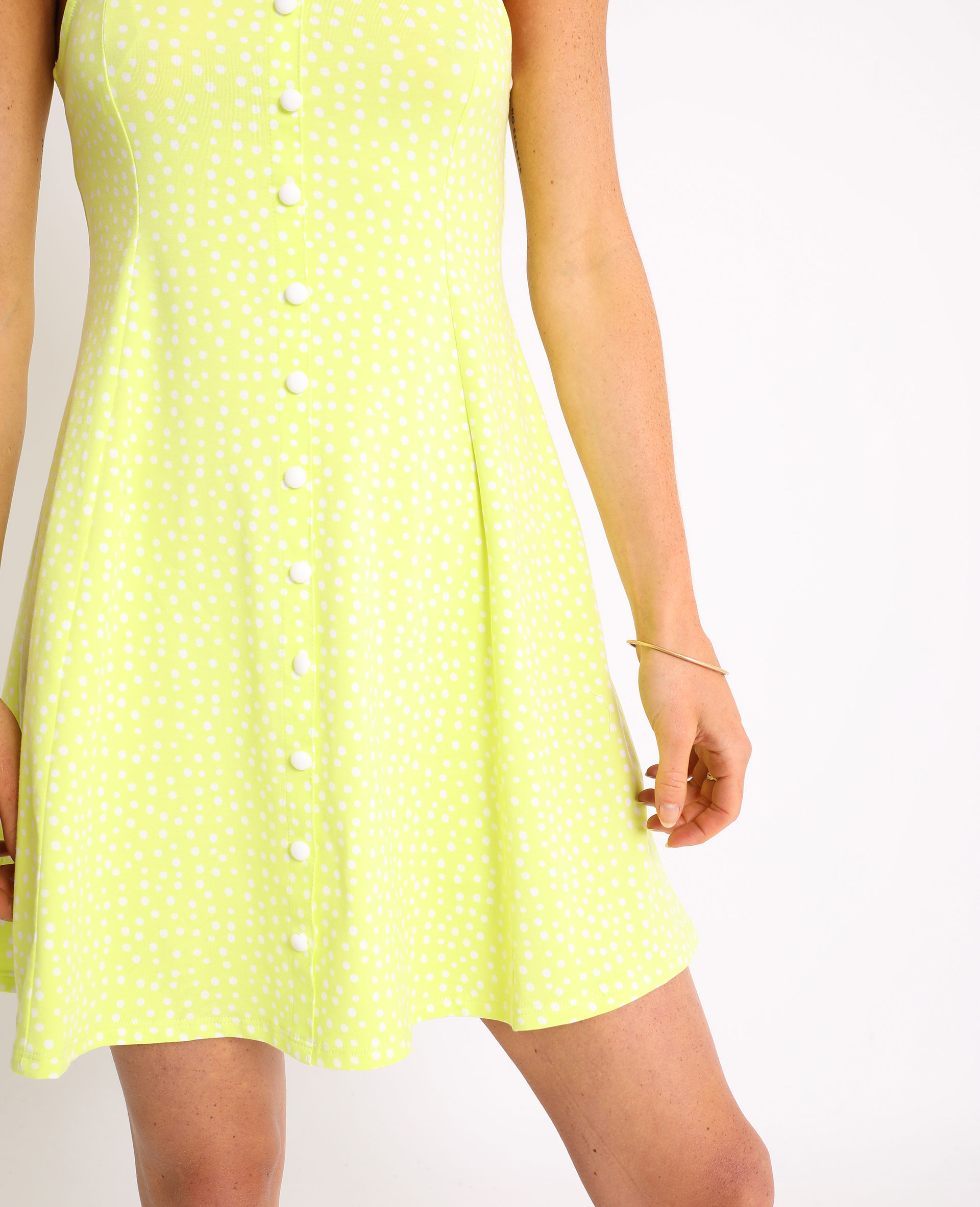 Petite robe à pois jaune fluo - Pimkie