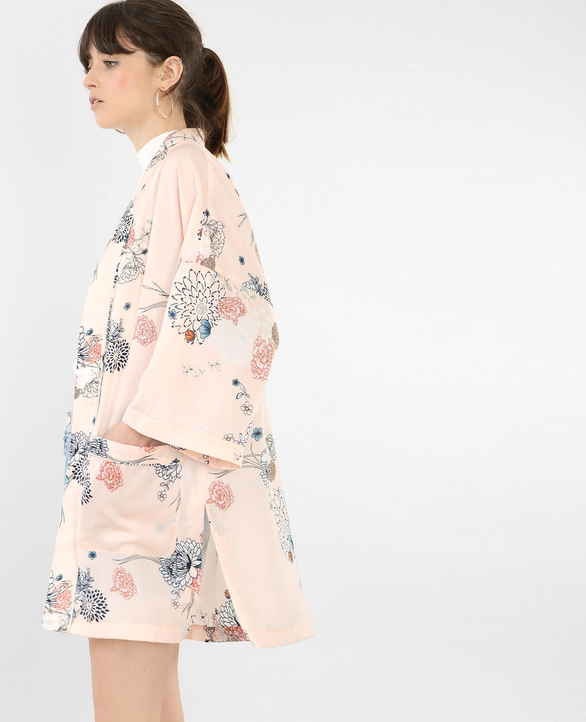 Veste De Kimono Satin E Rose 323145262e02 Pimkie