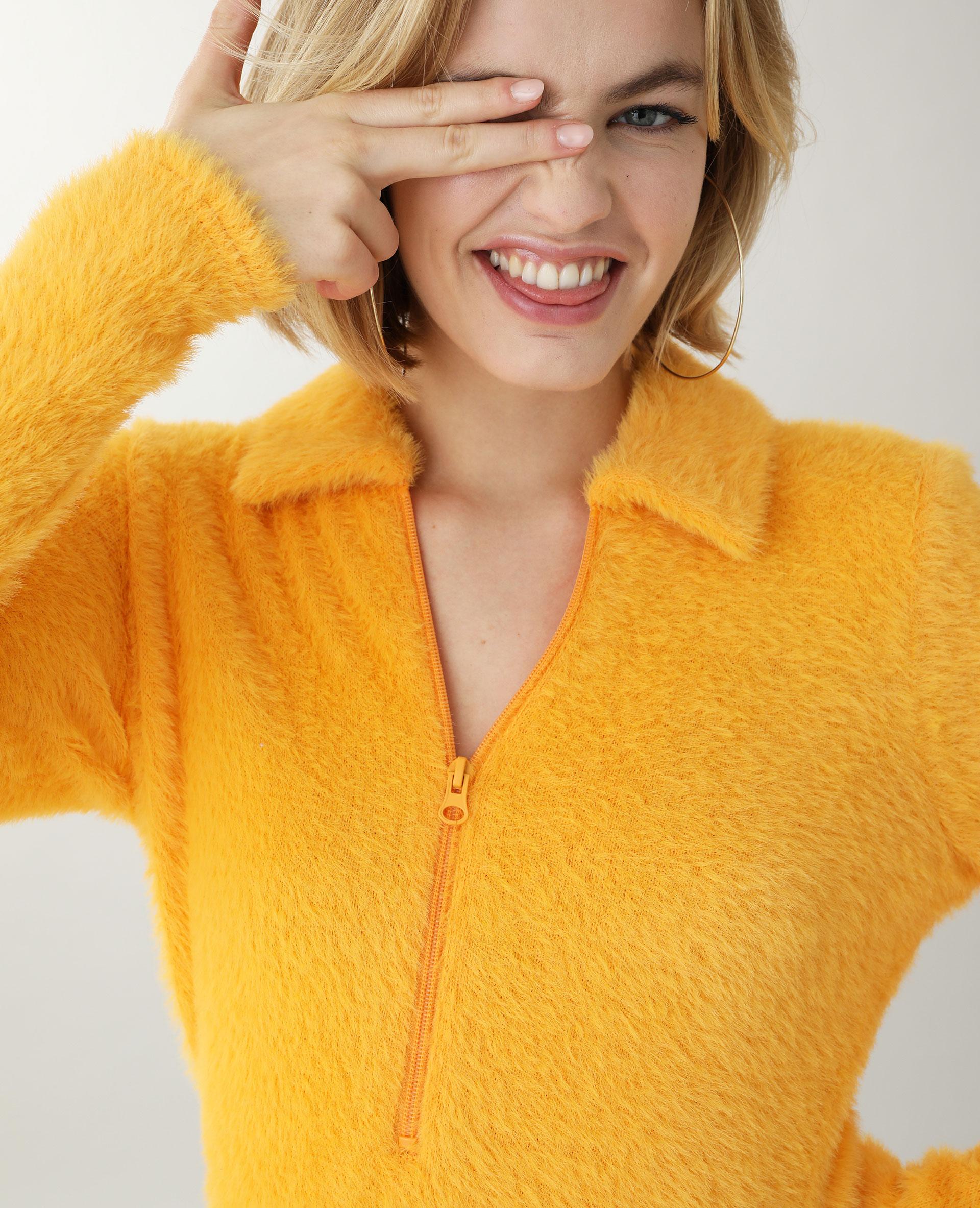 Robe maille poilue orange - Pimkie