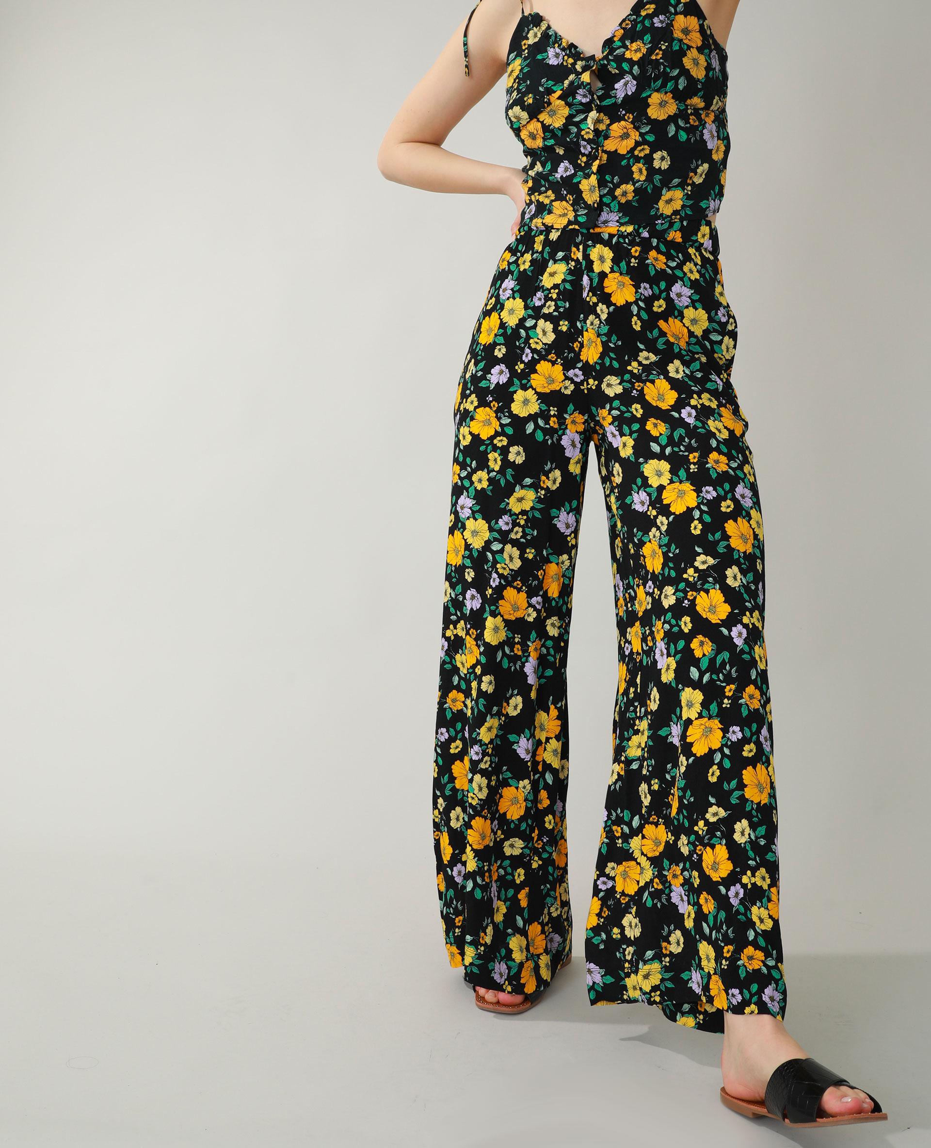 Pantalon wide leg fleuri noir - Pimkie