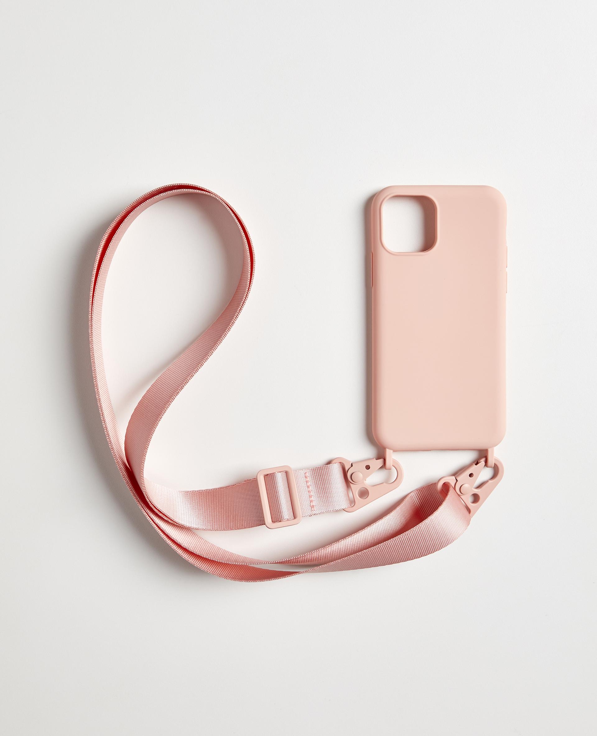 Coque Iphone avec bandoulière rose - Pimkie