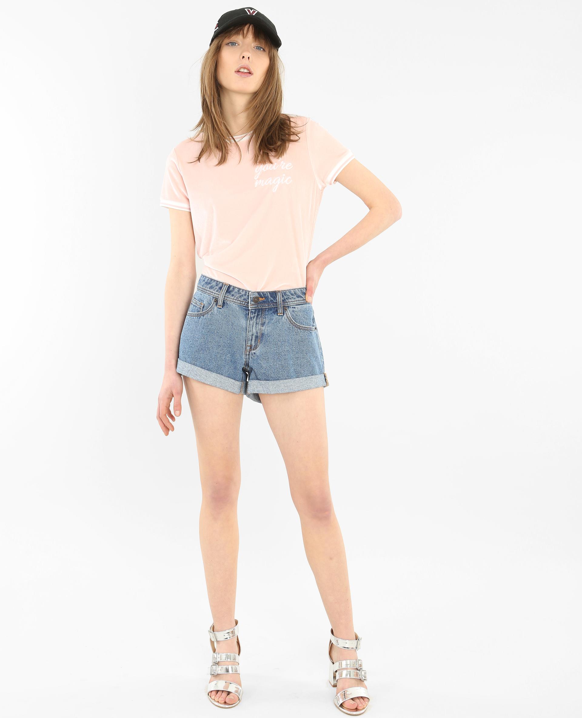T-shirt velours rose - Pimkie