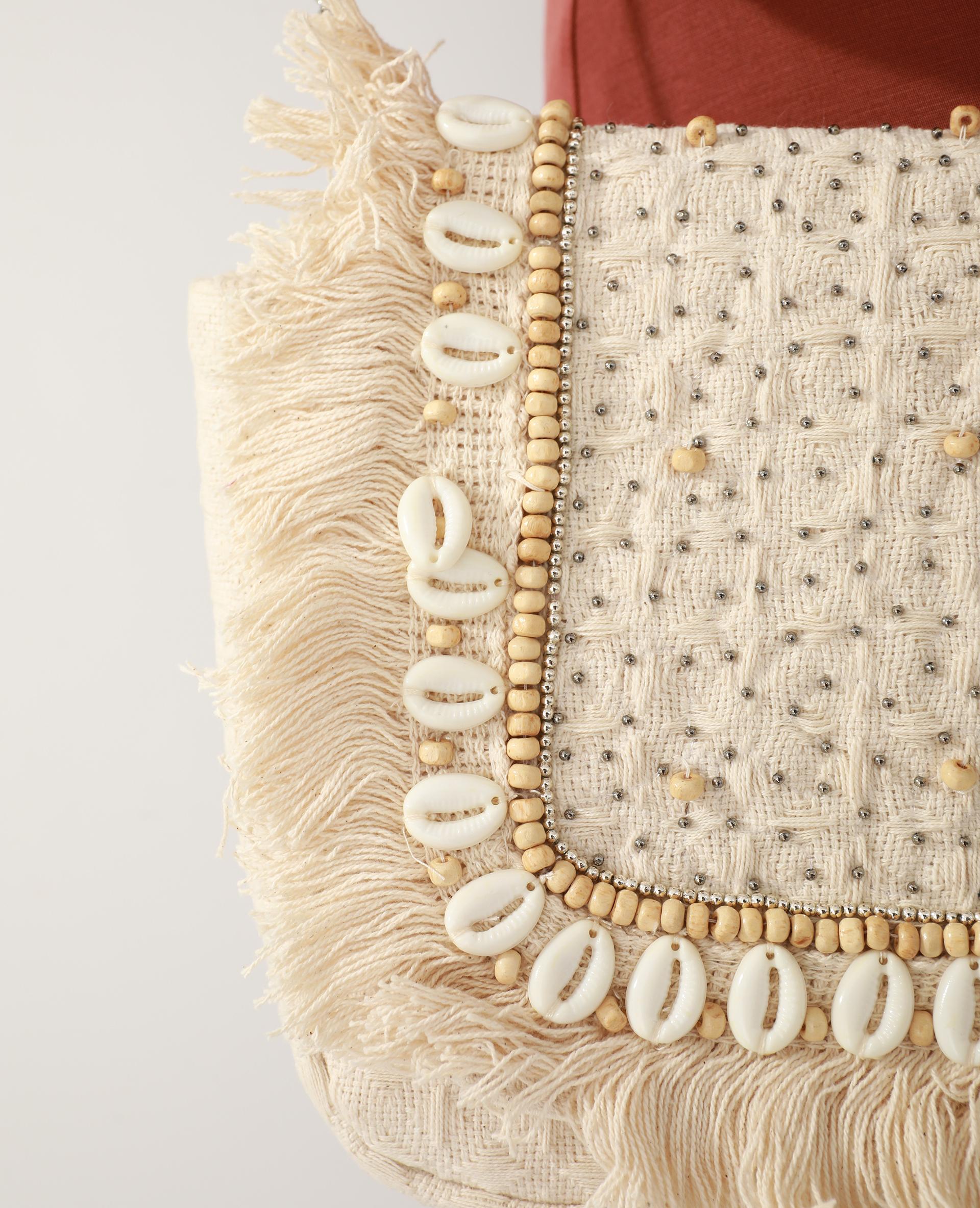 Sac bandoulière coquillages et perles beige ficelle - Pimkie