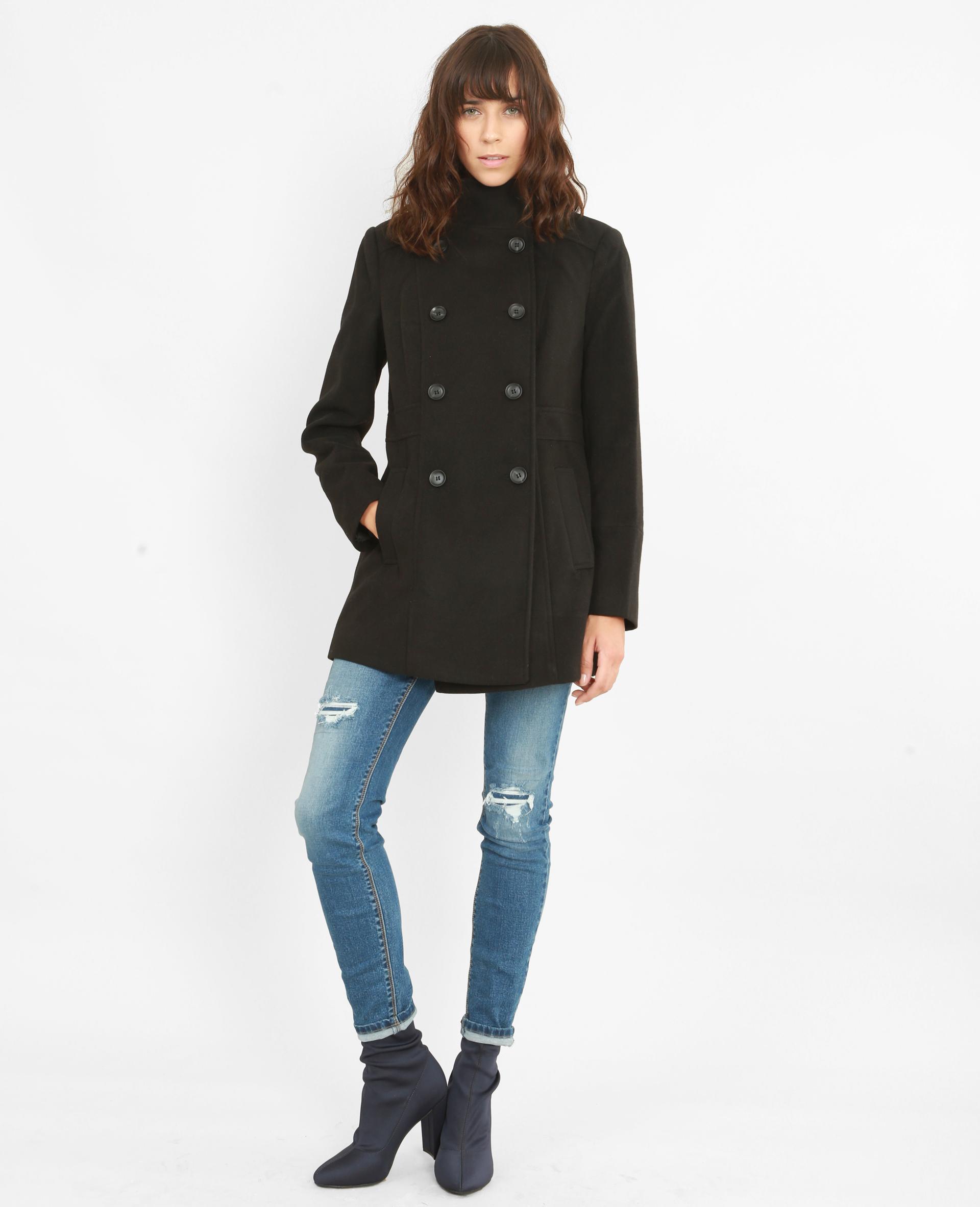 Manteau double boutonnage noir 280121899A08 | Pimkie