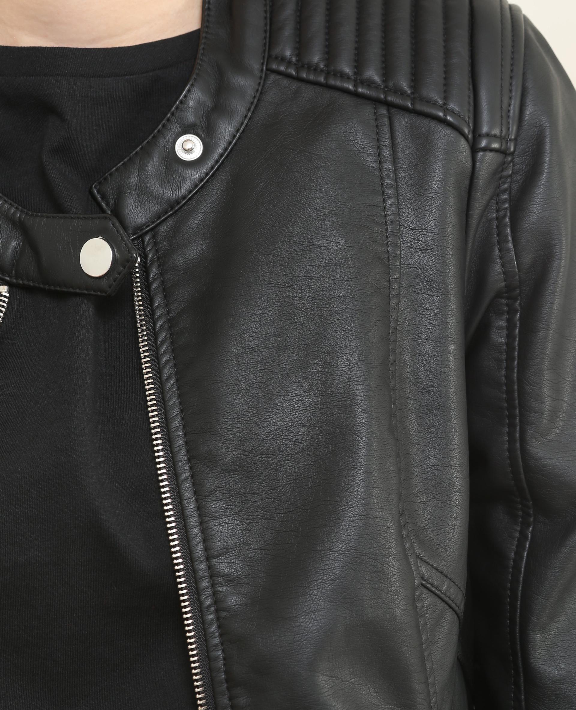 822fa1138e272 Pimkie Veste Esprit Biker Simili Cuir Noir épaules Matelassées Femme 323112