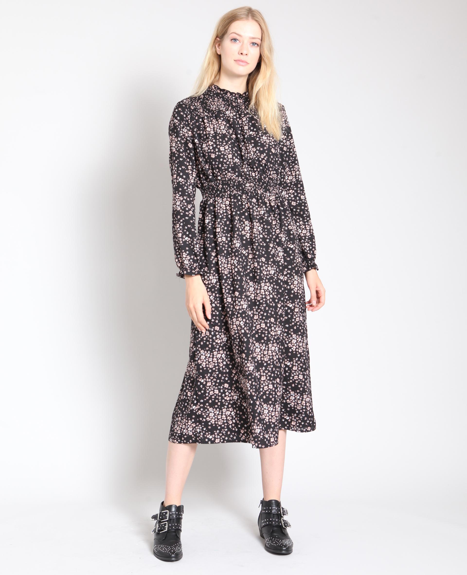 Robe longue à fleurs noir - Pimkie