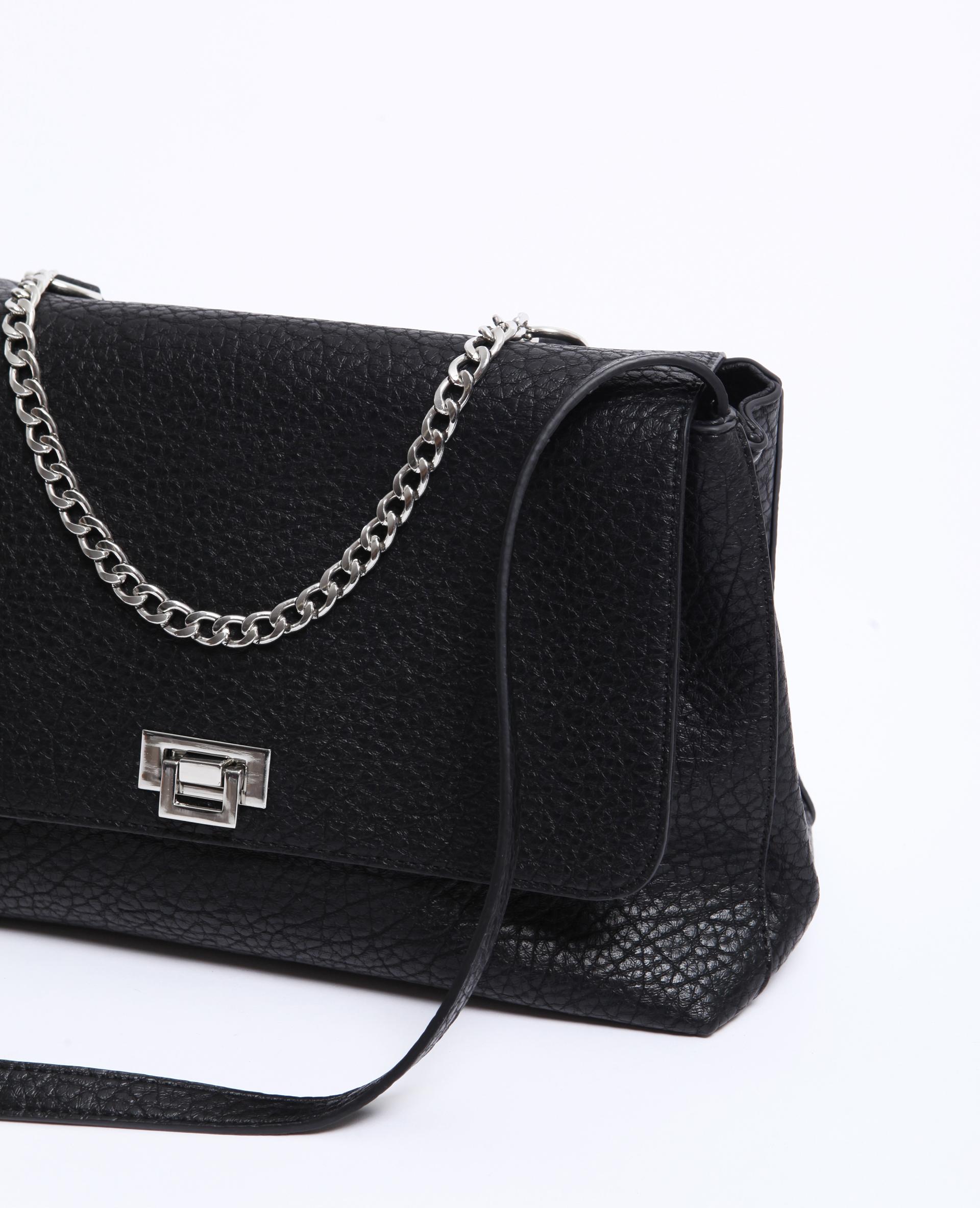 Grand sac en simili cuir noir - Pimkie
