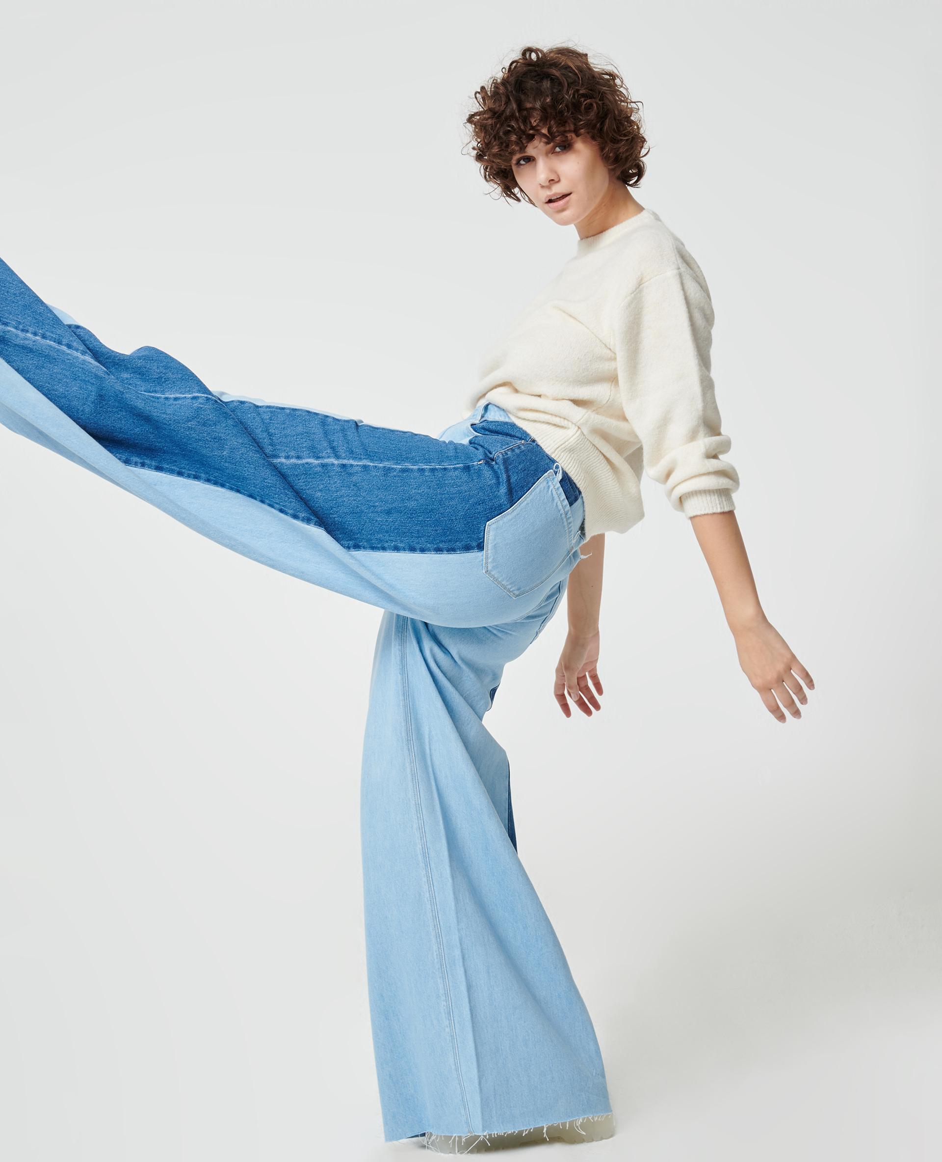 Jean wide bicolore bleu clair - Pimkie