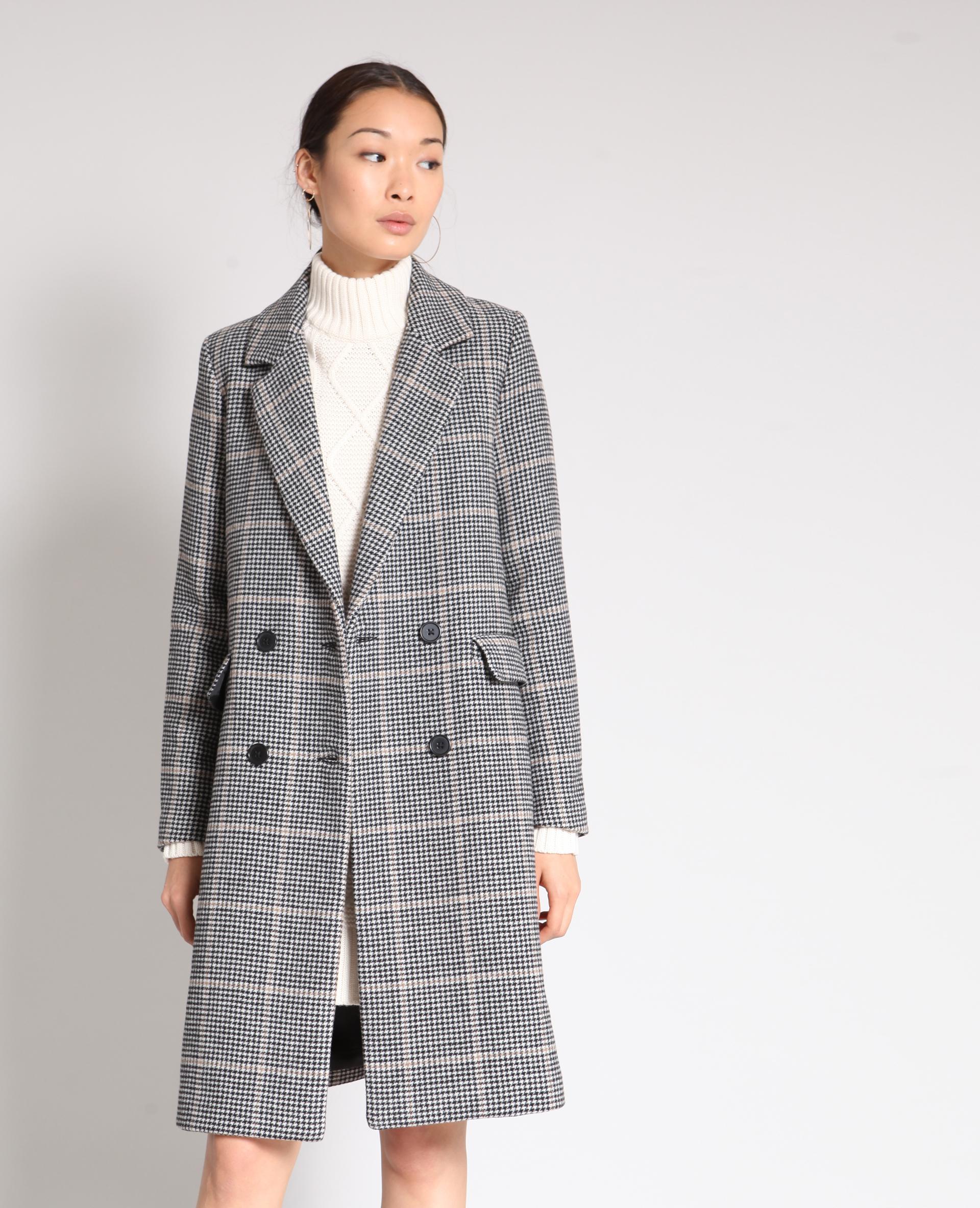 Manteau long pied de poule beige - Pimkie