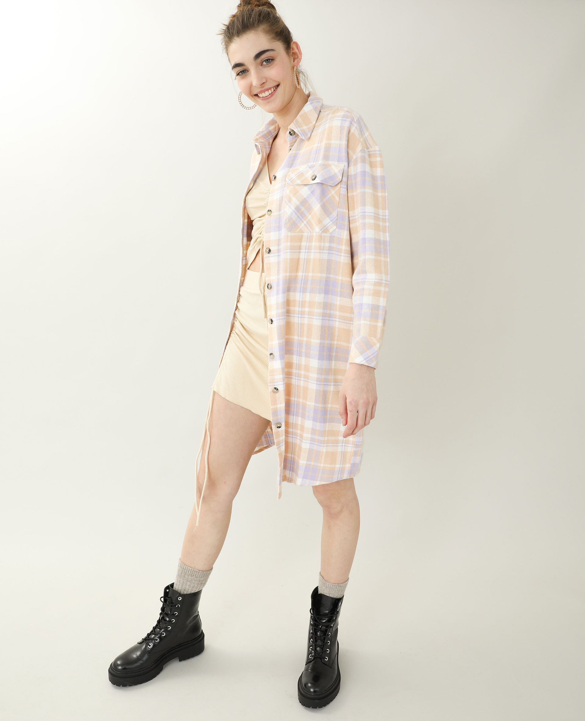Jupe courte côtelée beige - Pimkie