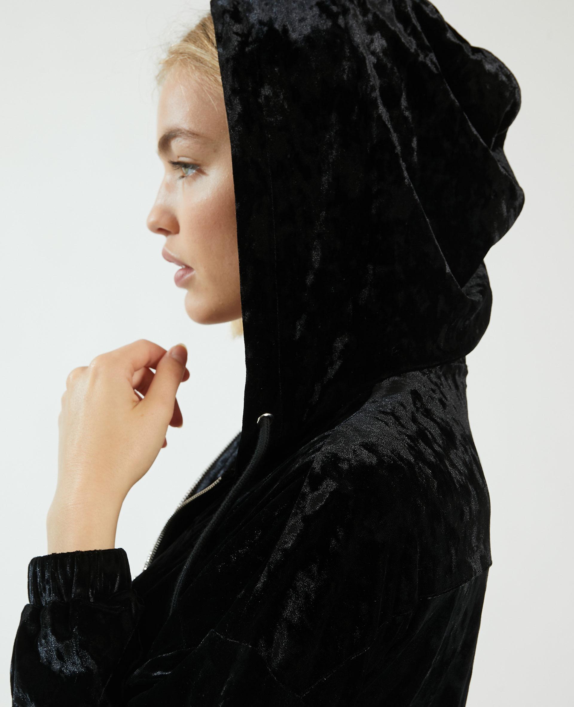 Combishort à capuche en velours noir - Pimkie