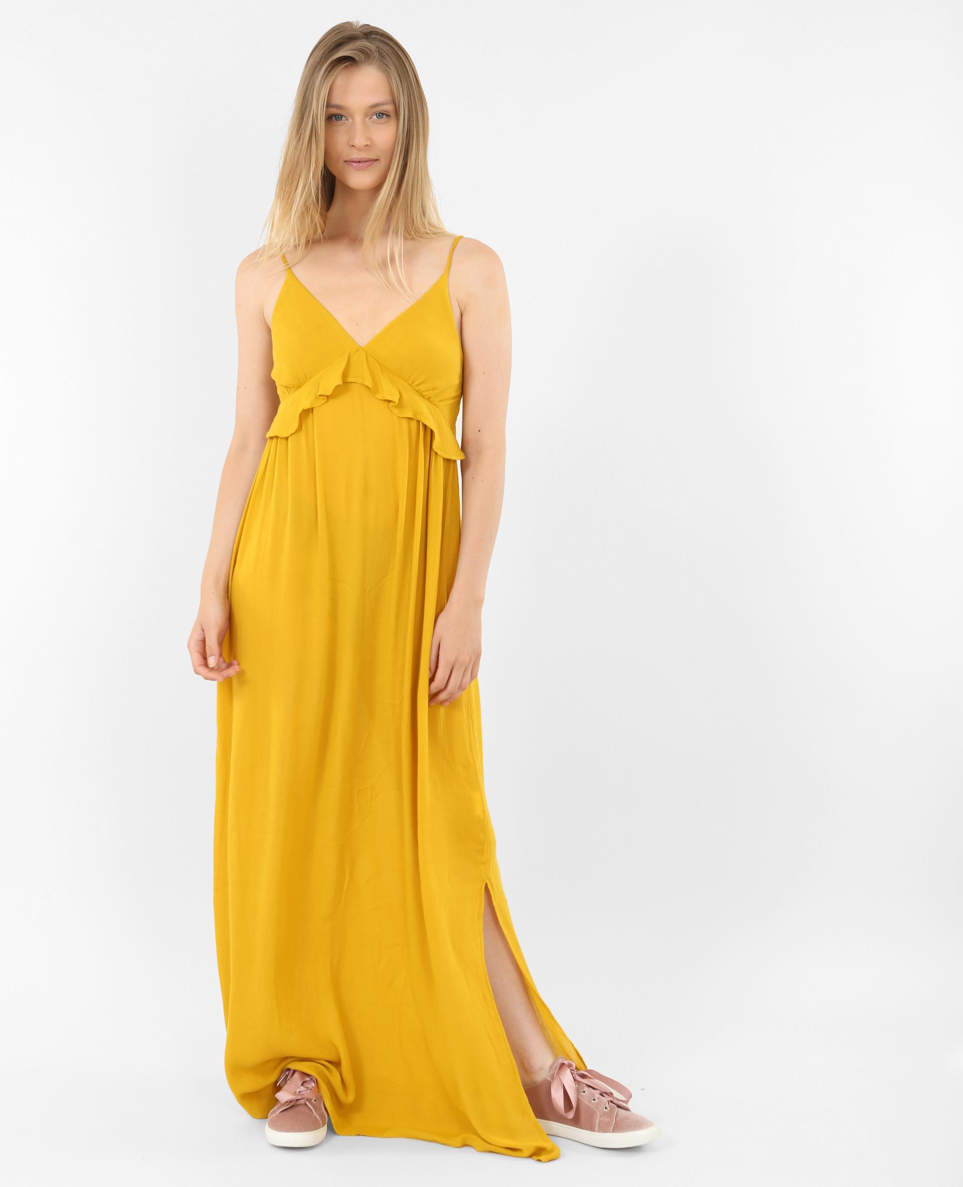 d591d7dbffd Robe longue à volants jaune - 780711003A00