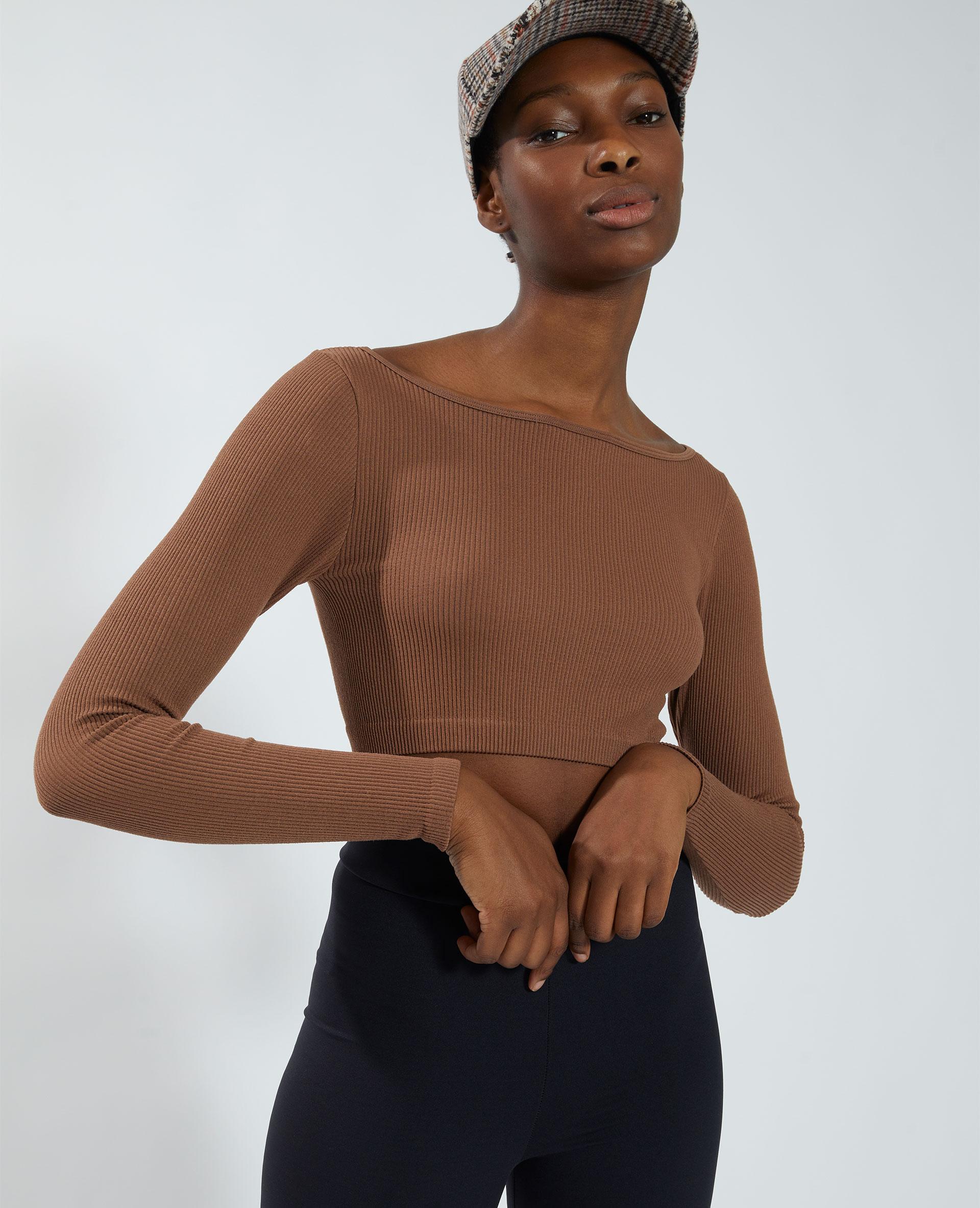 T-shirt cropped sans coutures marron - Pimkie