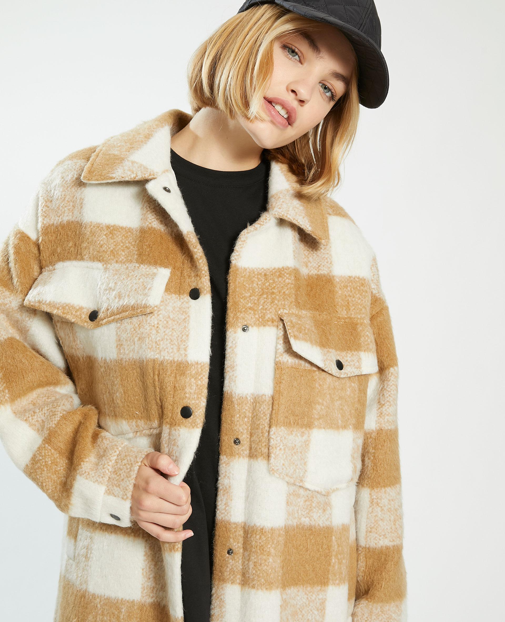 Manteau long oversize à carreaux avec laine marron - Pimkie