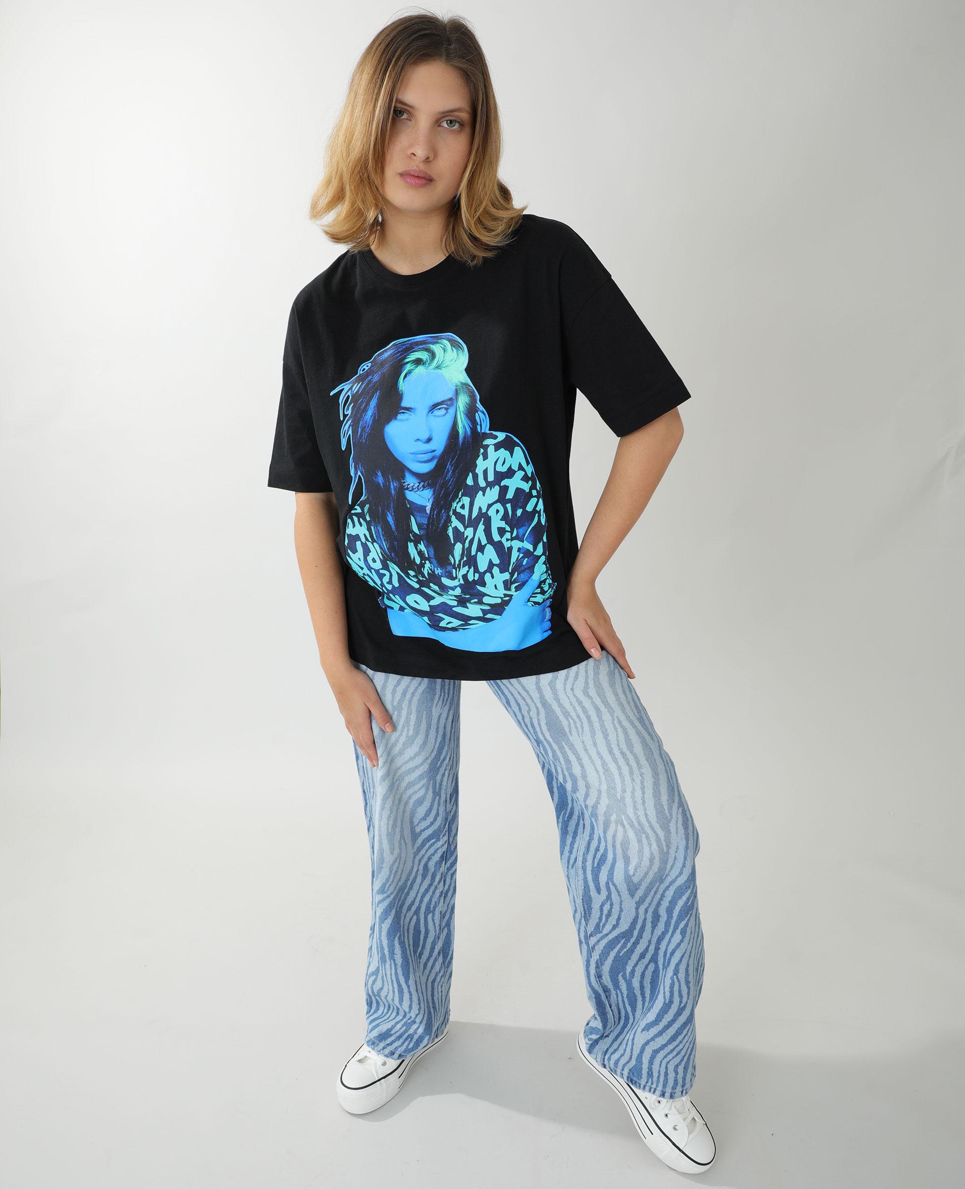 T-shirt ample Billie Eilish noir - Pimkie