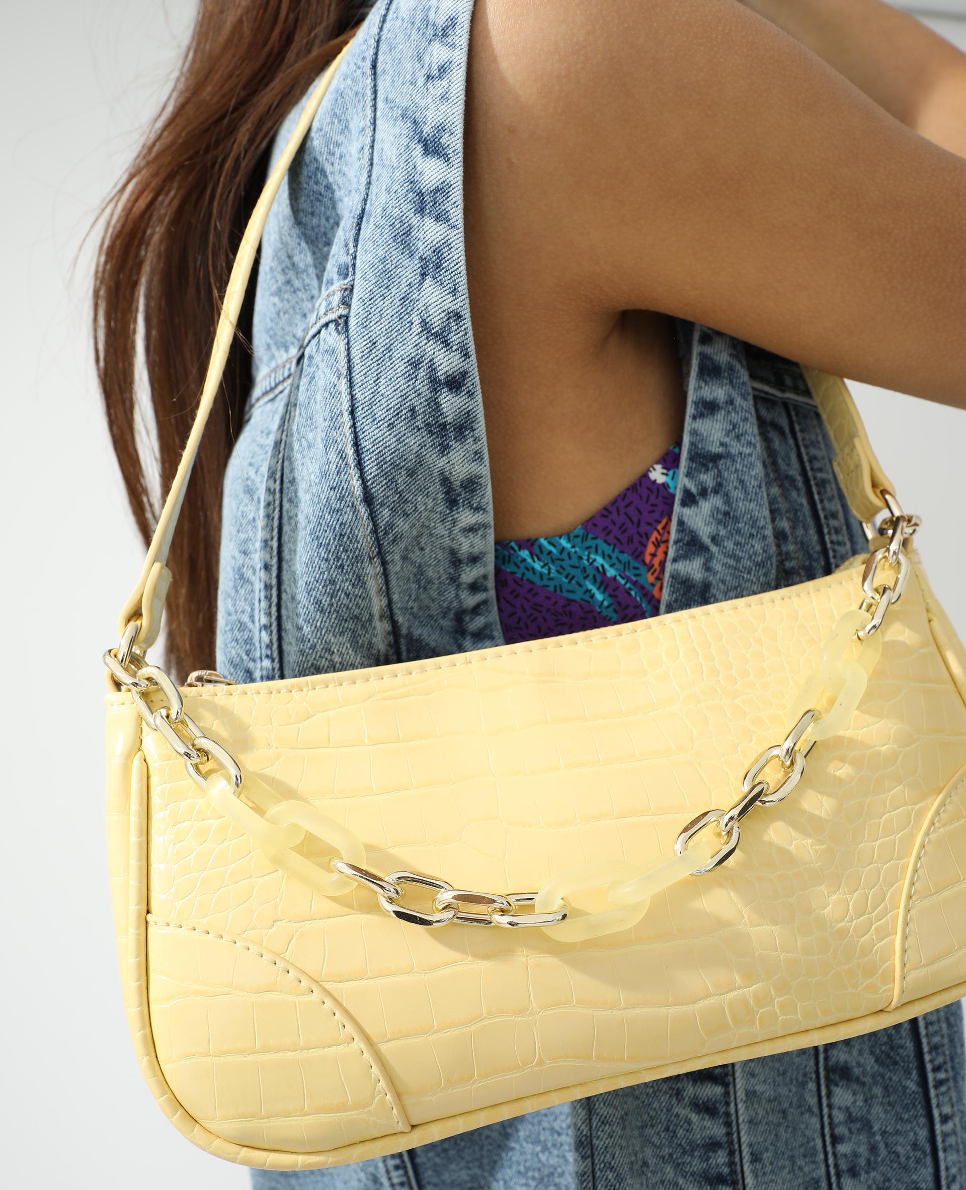 Sac porté épaule croco et chaîne jaune - Pimkie