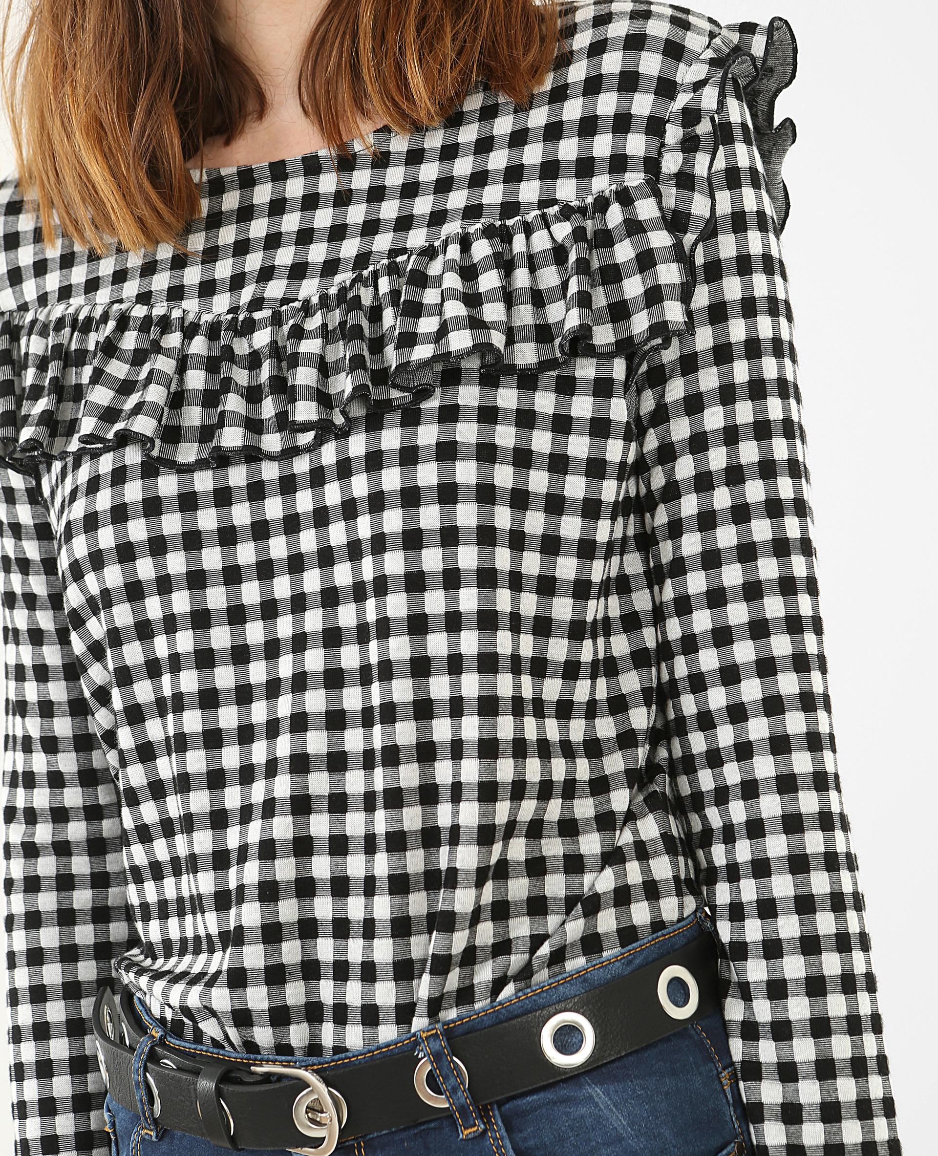 T-shirt vichy à volants noir - Pimkie