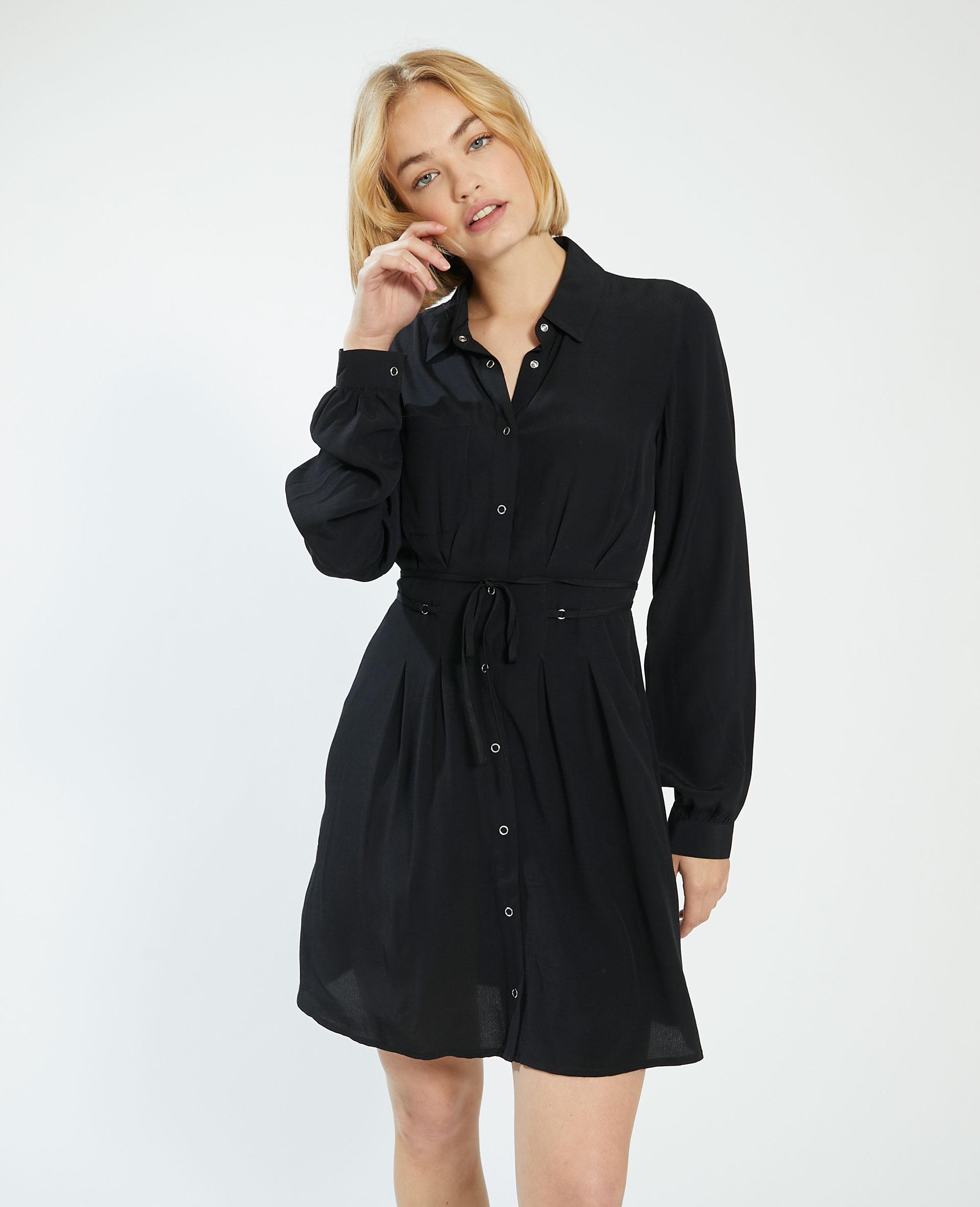 Robe chemise à nouer noir - Pimkie