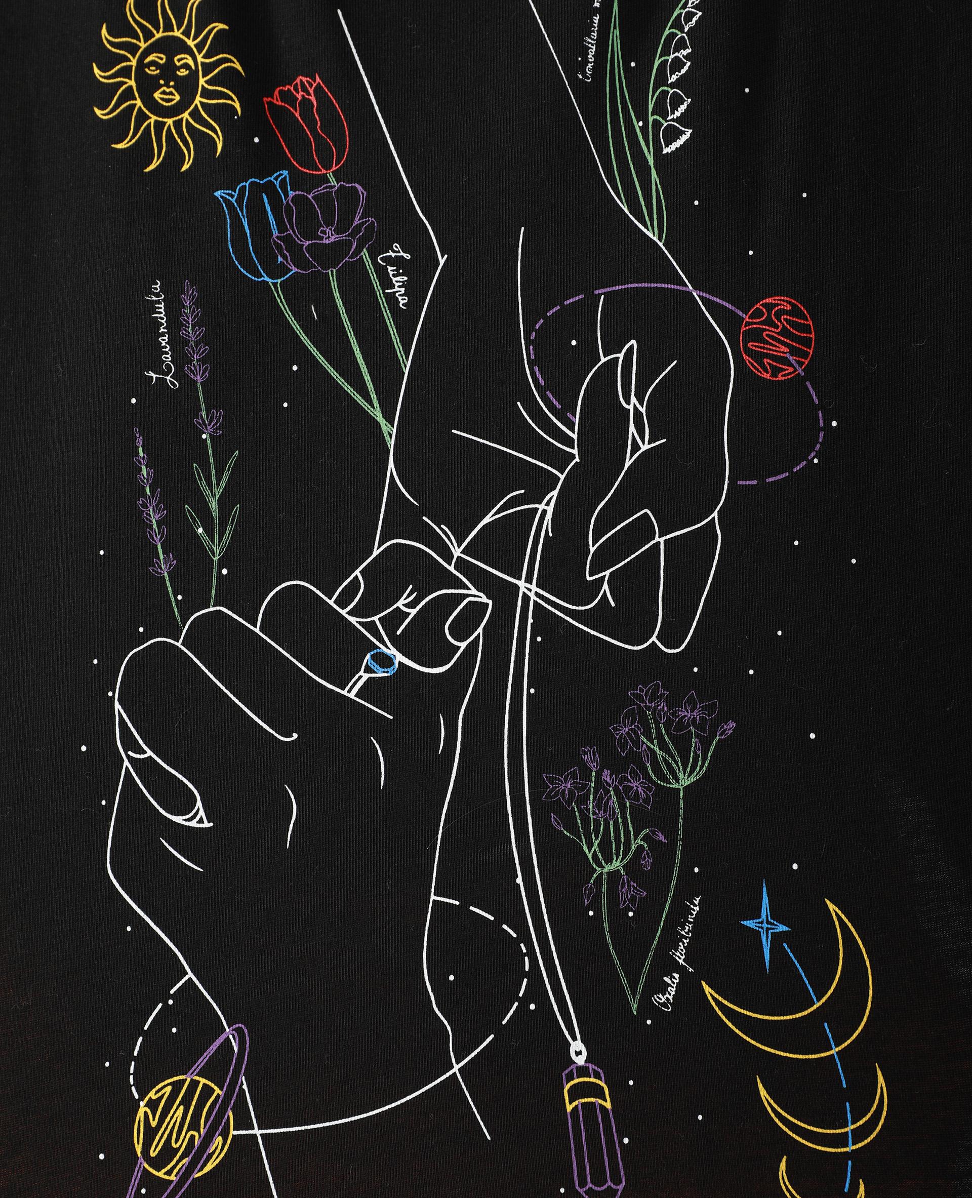 T-shirt cropped motifs mains et fleurs noir - Pimkie