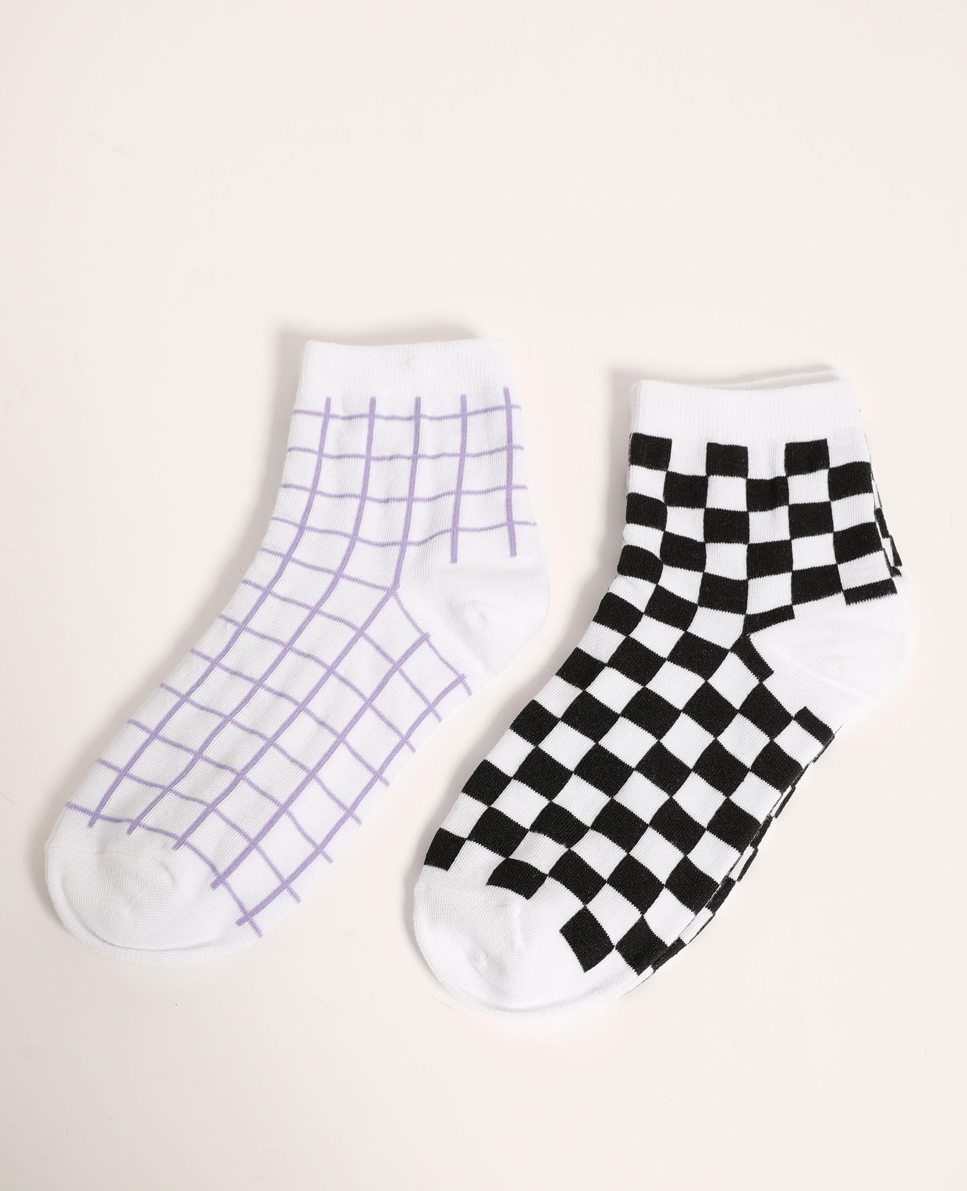Lot de 2 paires de chaussettes à carreaux violet - Pimkie