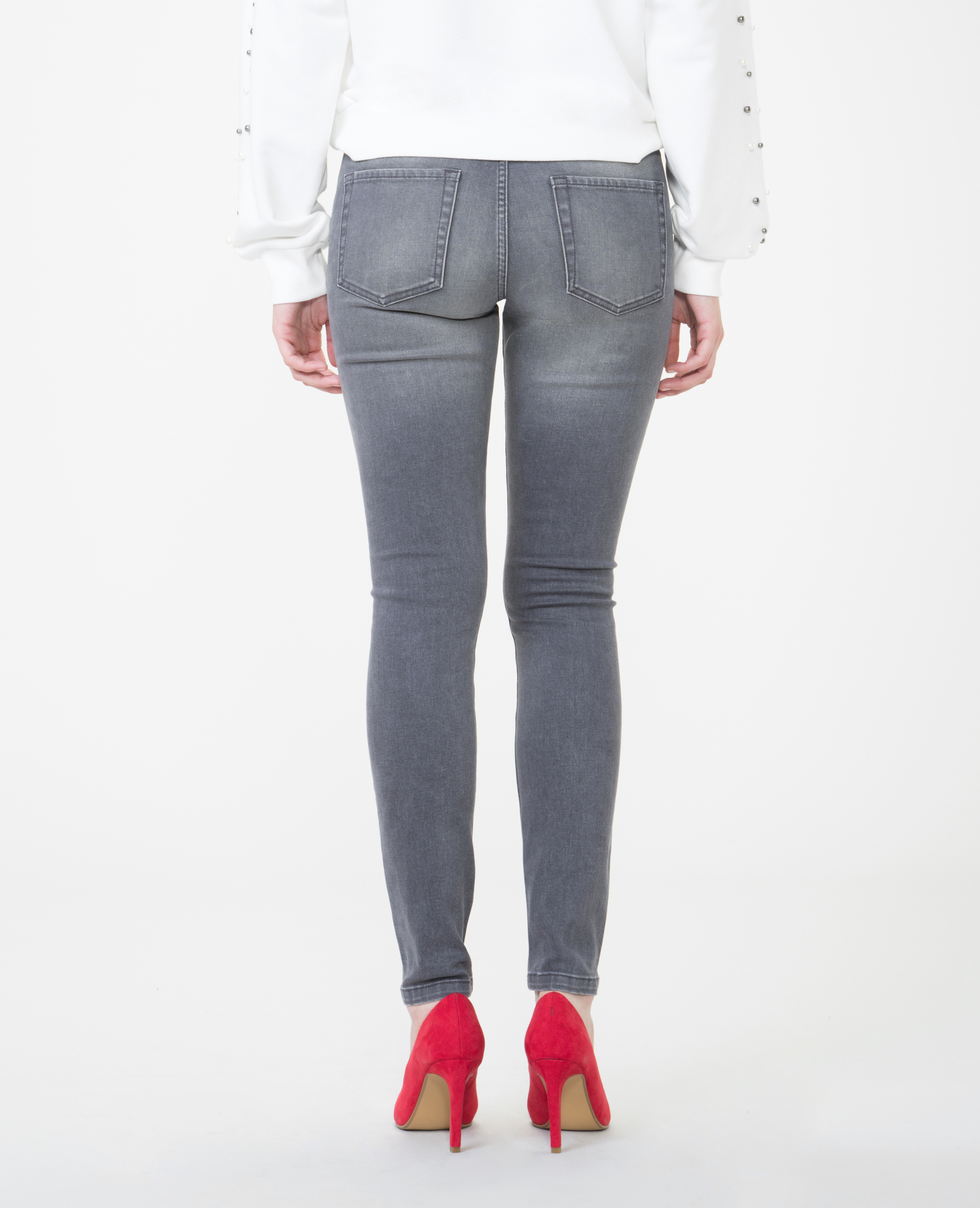 Skinny mid waist gris délavé - Pimkie