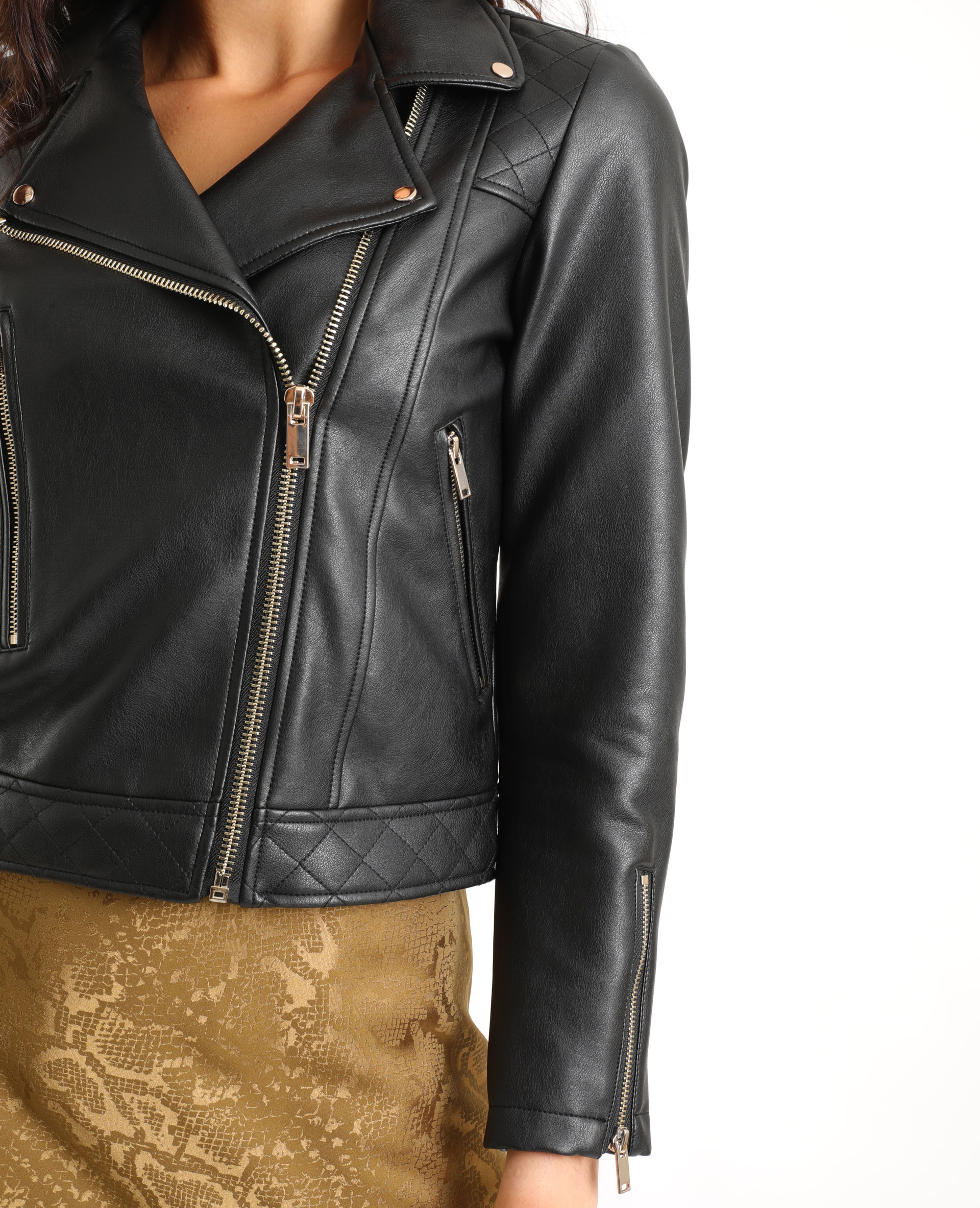 Veste biker en faux cuir noir - Pimkie