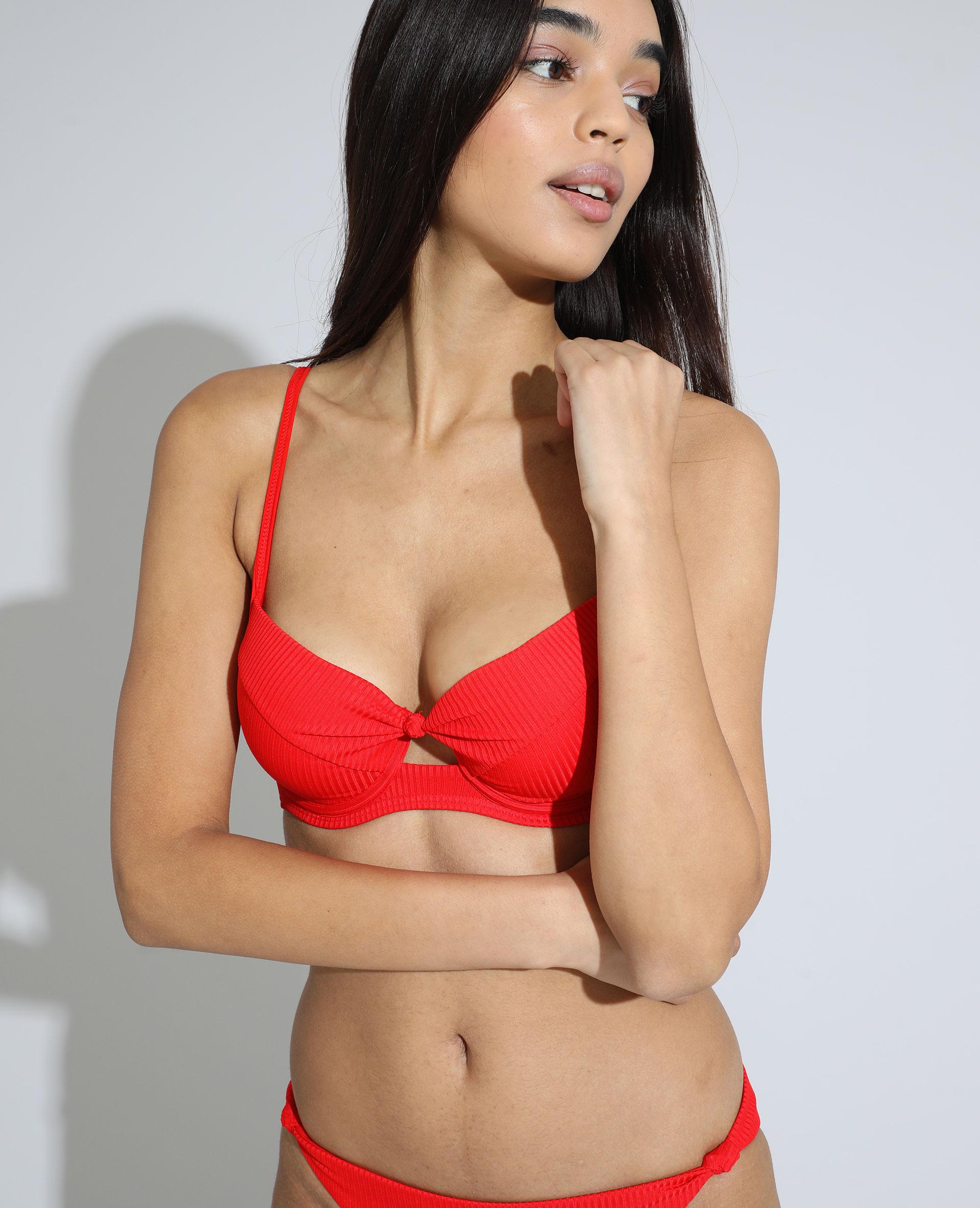 Haut de maillot de bain corbeille push-up côtelé rouge - Pimkie