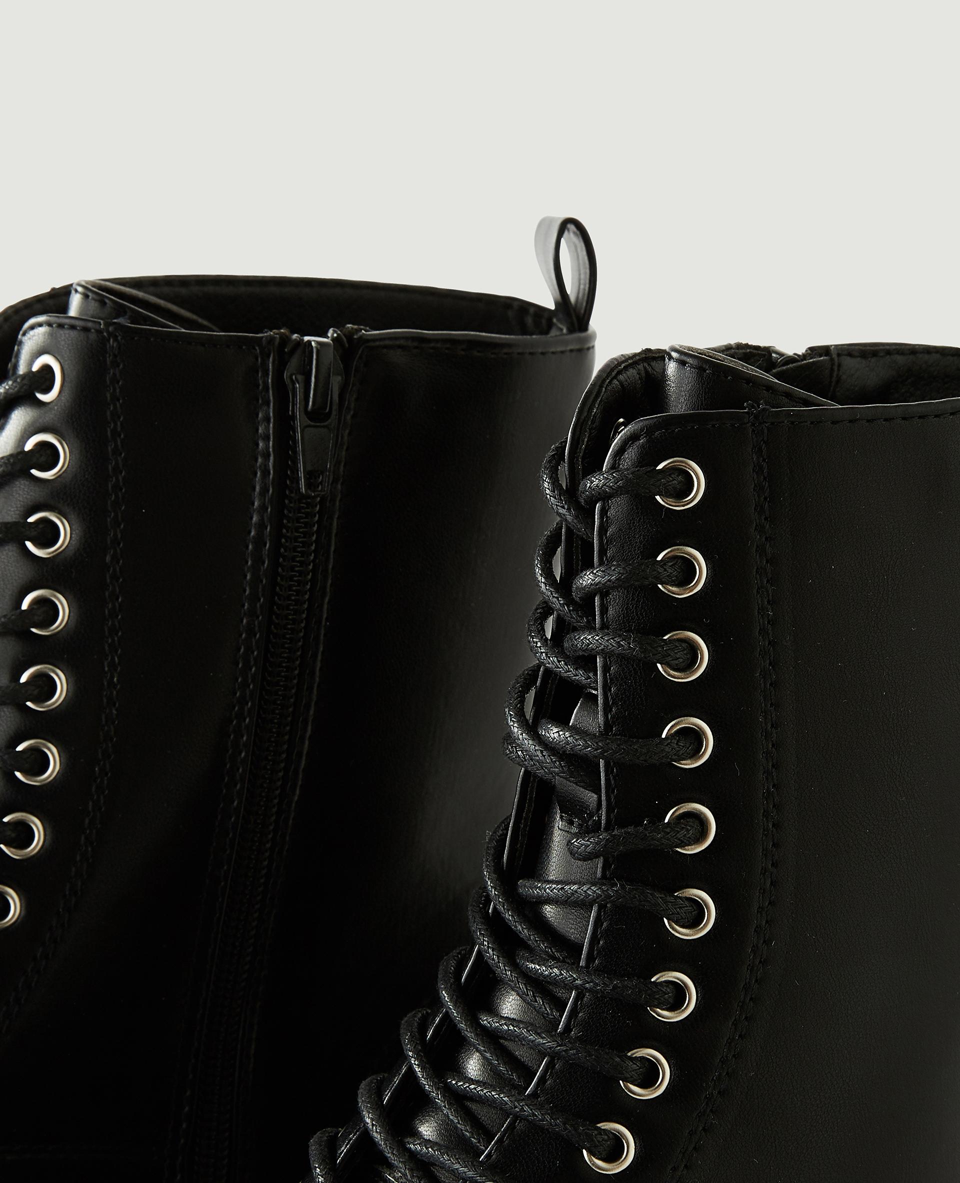 Boots plateformes en simili cuir noir - Pimkie